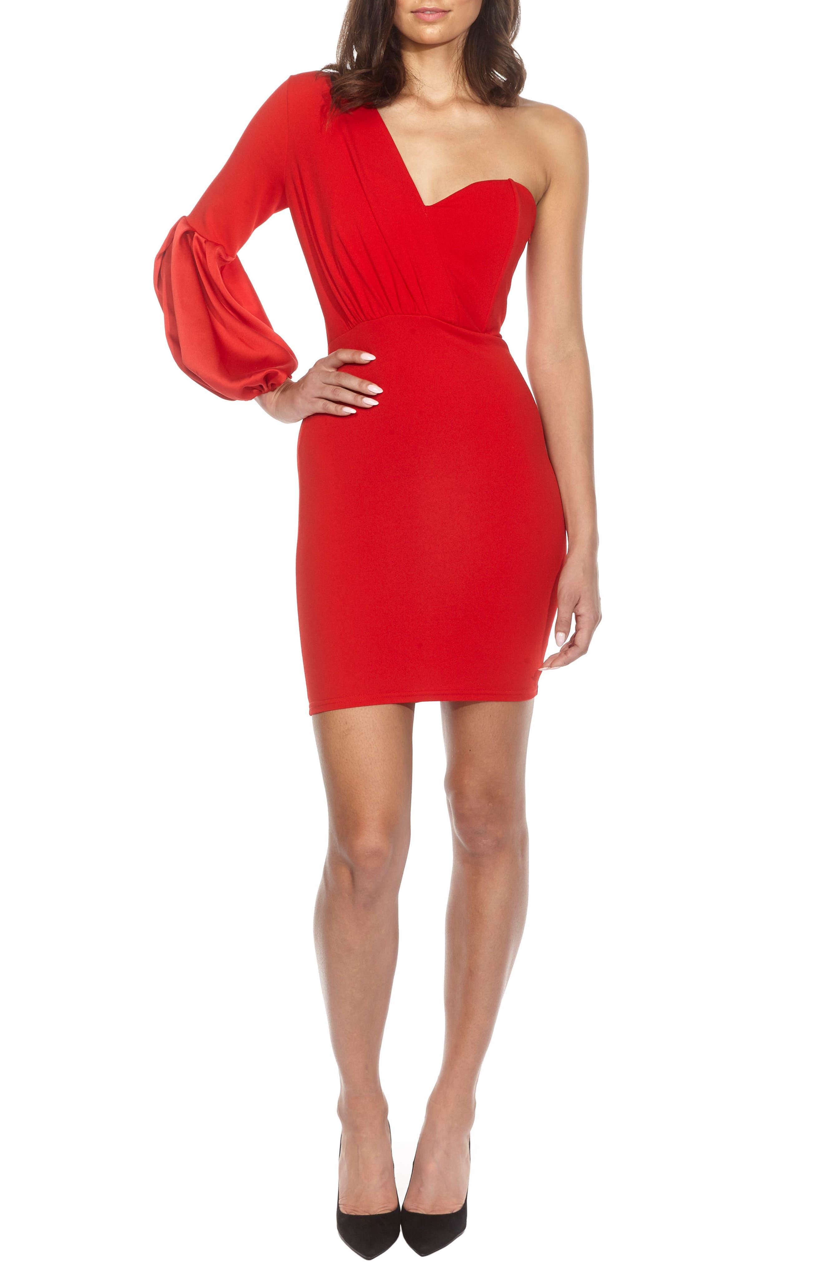 Naeva One-Shoulder Minidress,                         Main,                         color, Red