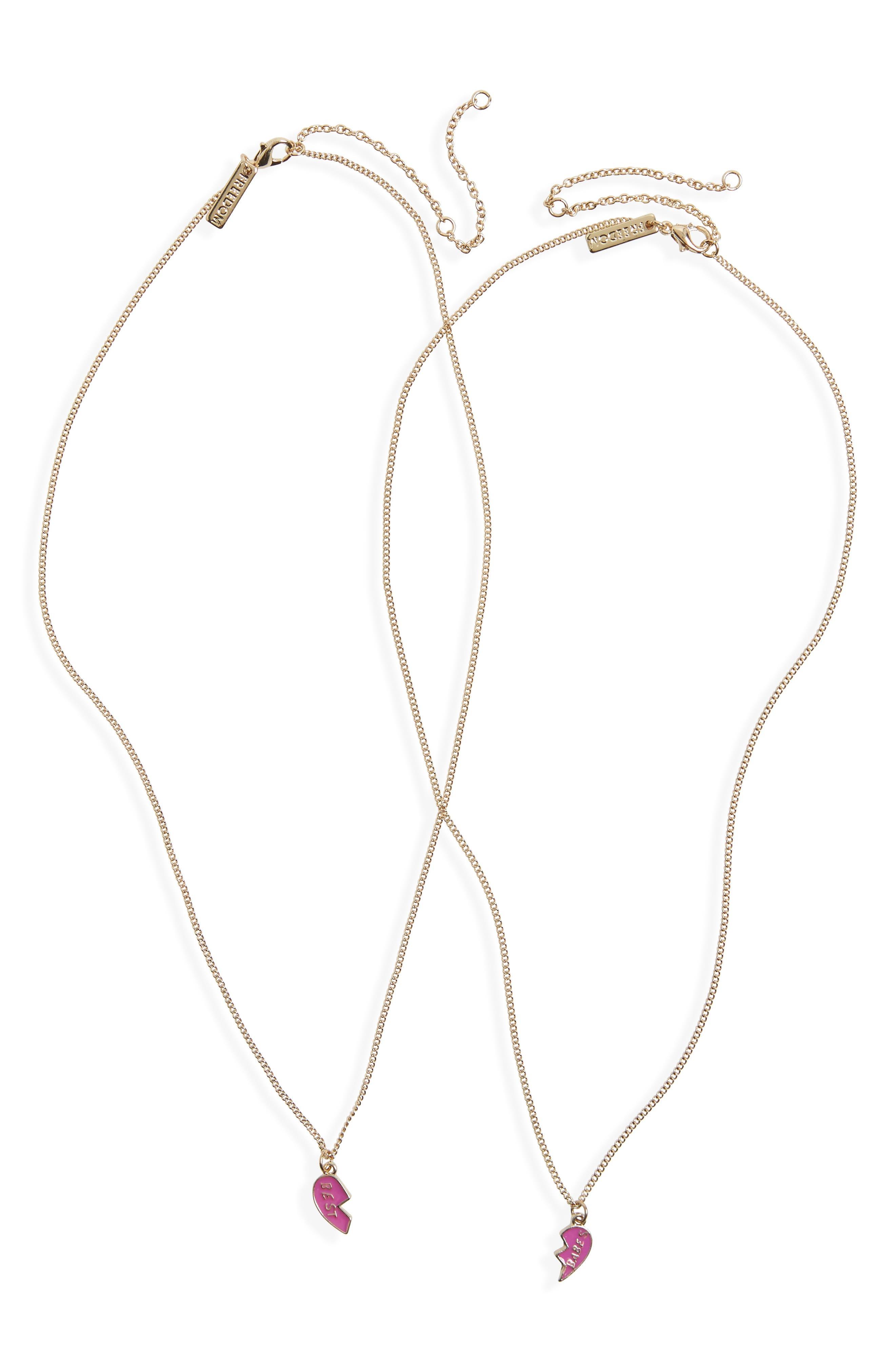 Best Babes Broken Heart Pendant Necklace Set,                             Main thumbnail 1, color,                             Gold