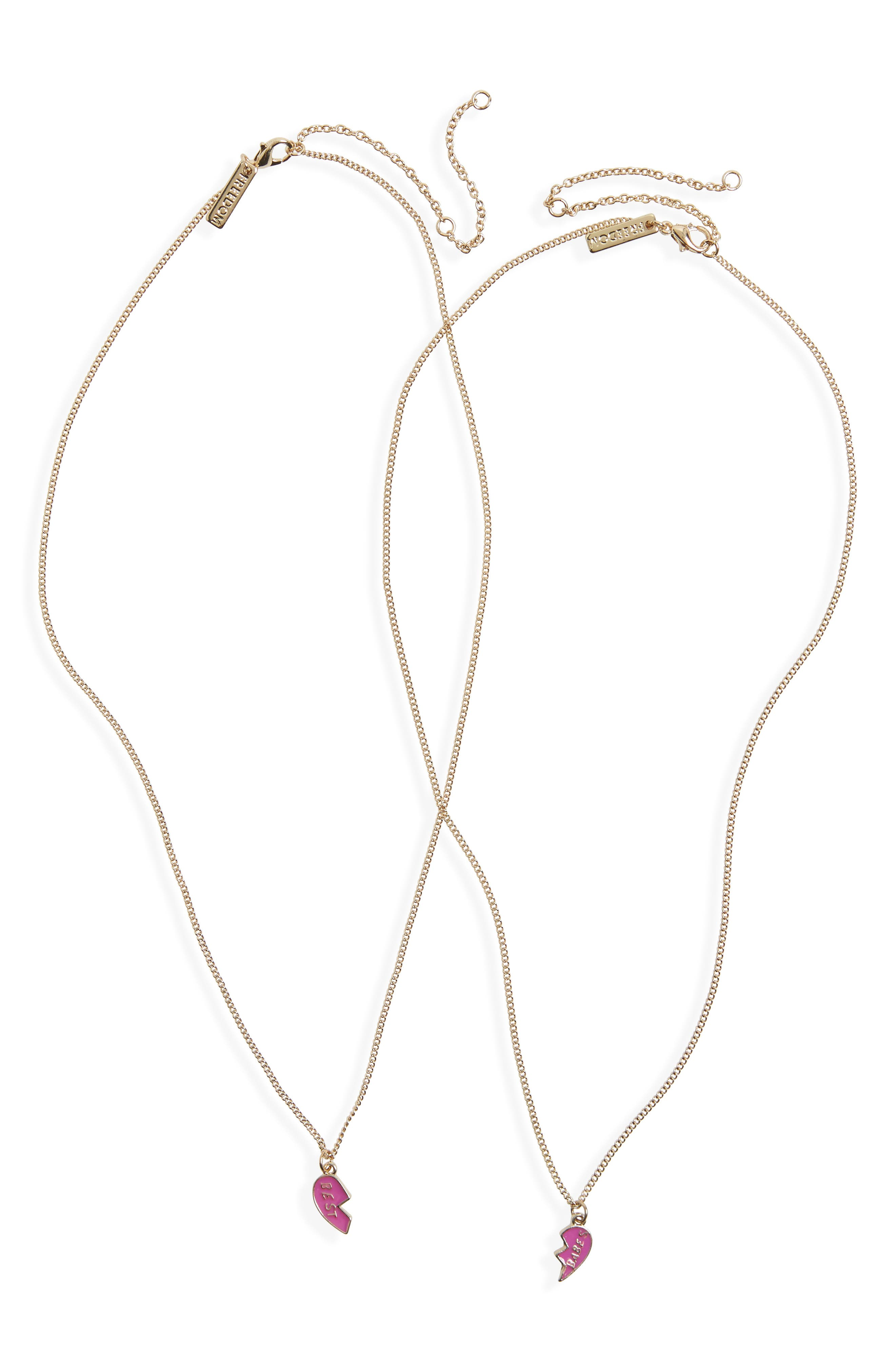 Topshop Best Babes Broken Heart Pendant Necklace Set