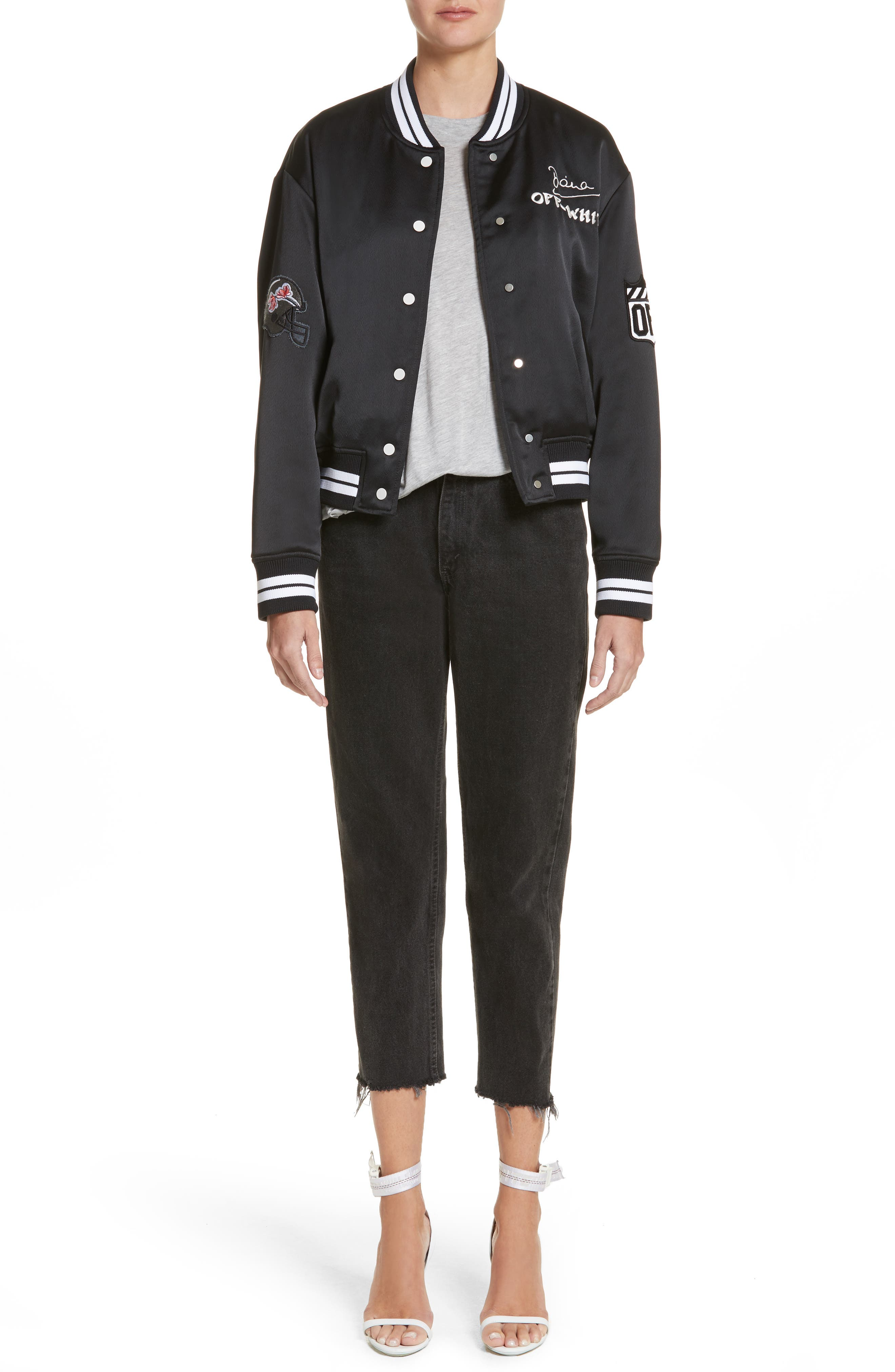 Varsity Bomber Jacket,                             Alternate thumbnail 7, color,                             Black/ White