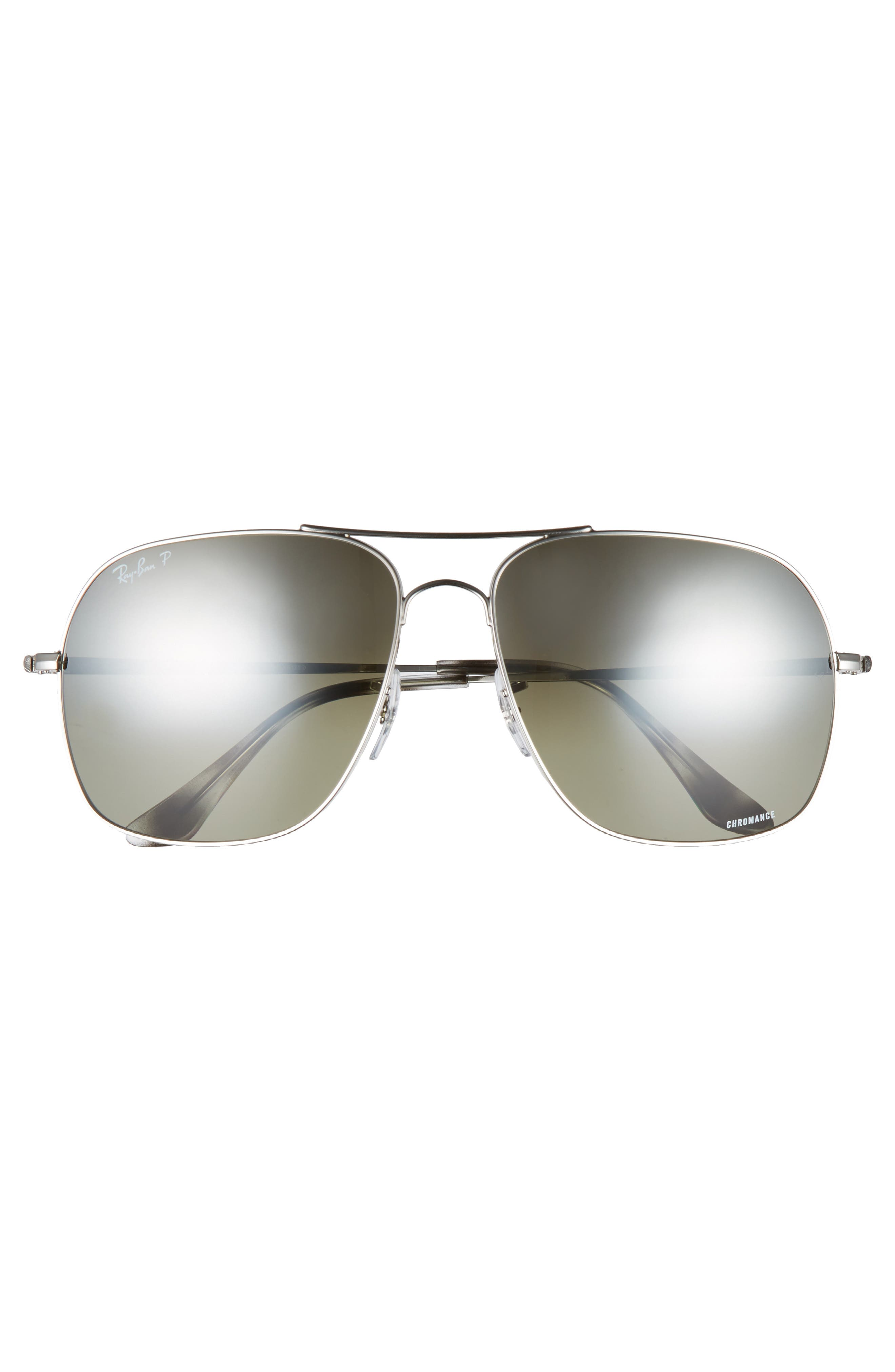 61mm Mirrored Lens Polarized Aviator Sunglasses,                             Alternate thumbnail 3, color,                             Silver