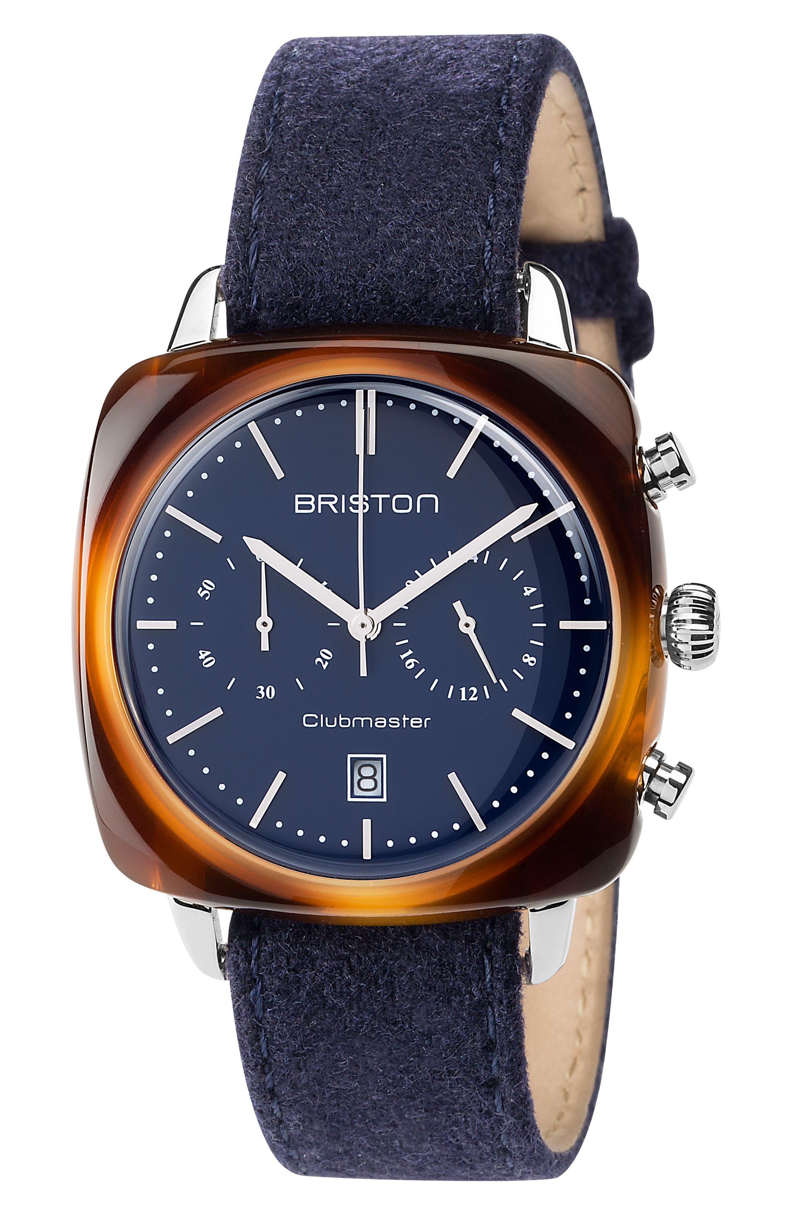 Main Image - Briston Watches Clubmaster Vintage Chronograph Nylon Strap Watch, 40mm x 40mm