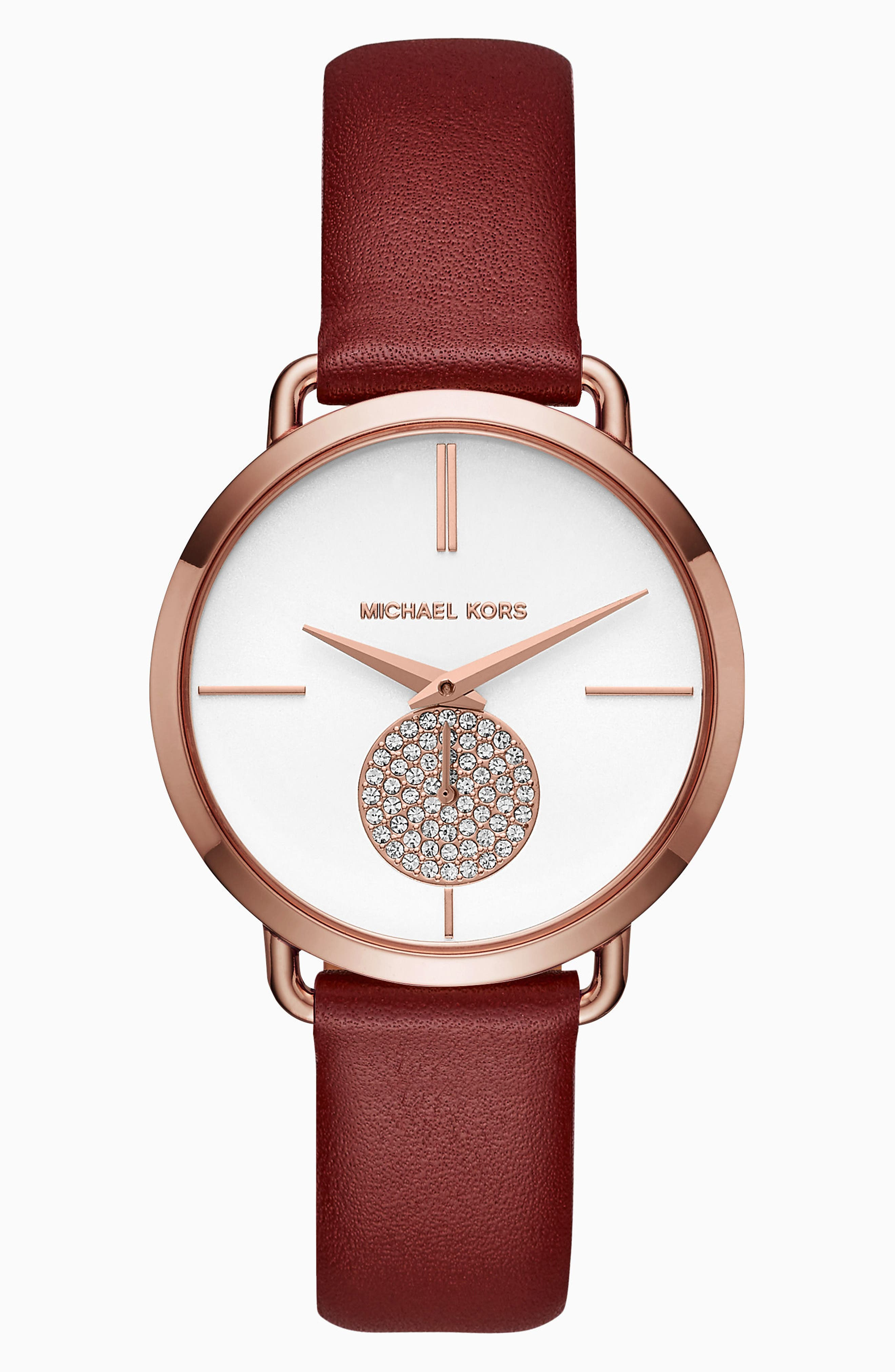 Portia Leather Strap Watch, 36mm,                             Main thumbnail 1, color,                             Red/ White/ Gold