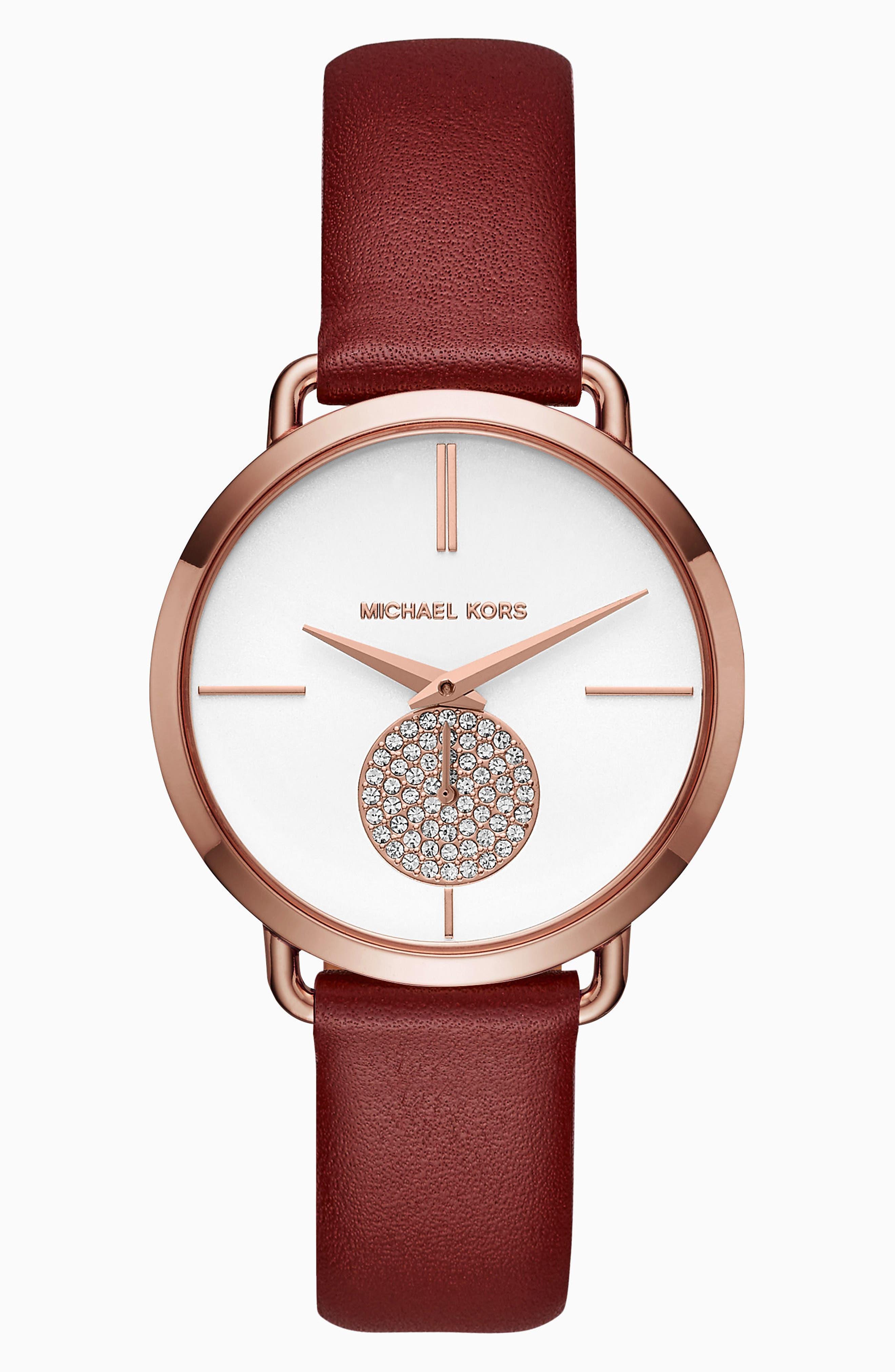 Main Image - Michael Kors Portia Leather Strap Watch, 36mm
