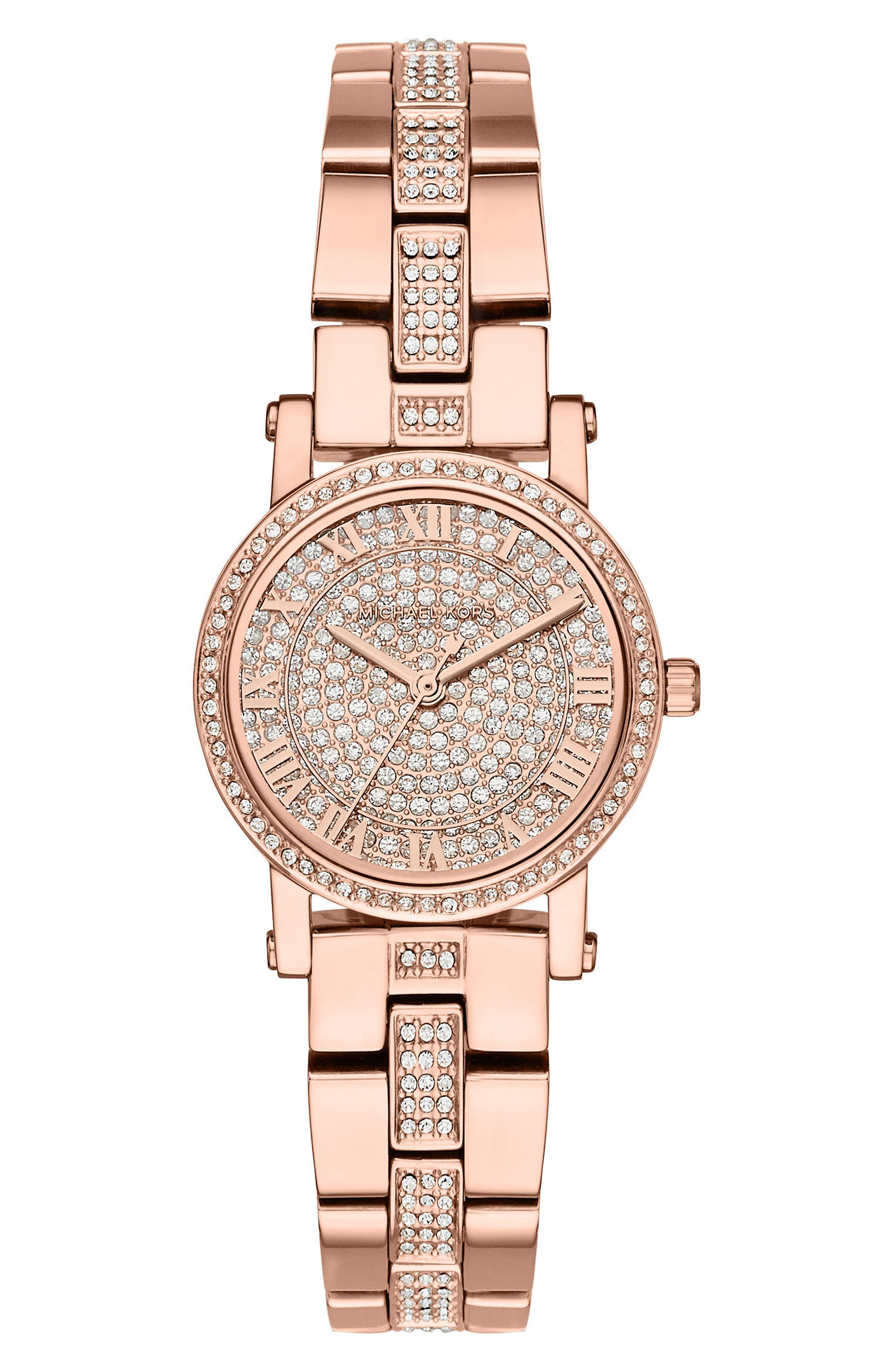 Petite Norie Pavé Bracelet Watch, 28mm,                             Main thumbnail 1, color,                             Rose Gold