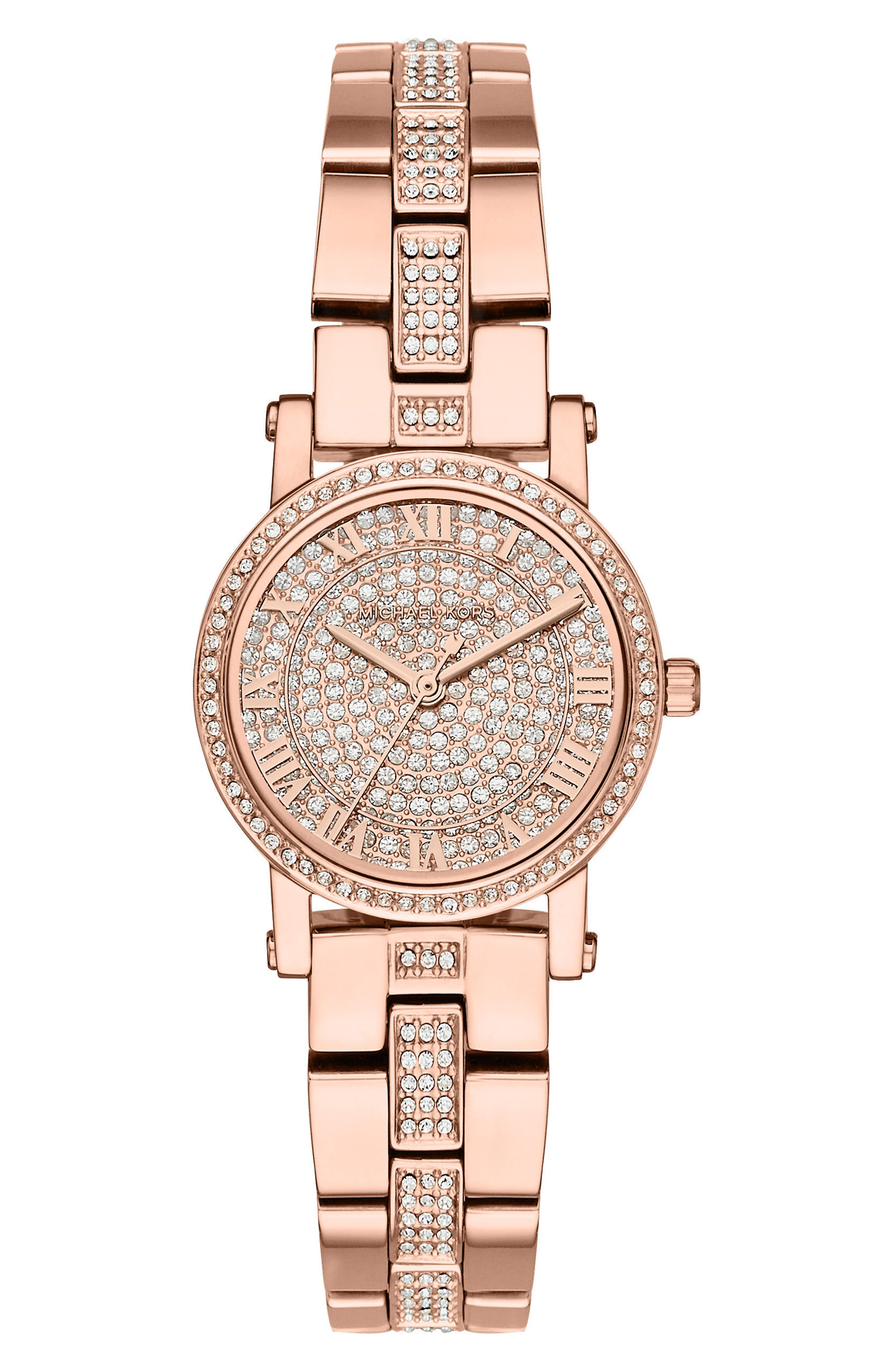 Petite Norie Pavé Bracelet Watch, 28mm,                         Main,                         color, Rose Gold