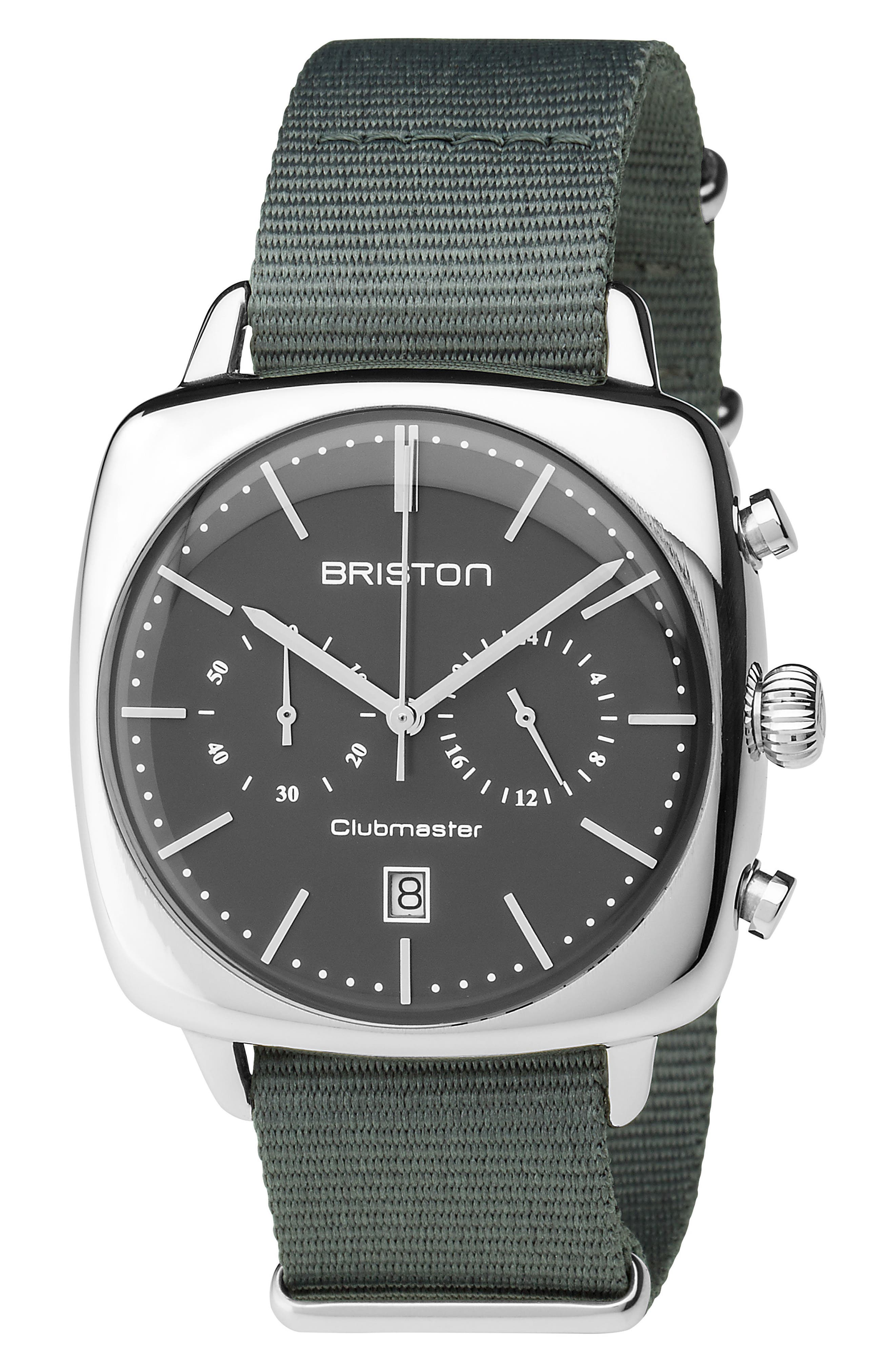 Clubmaster Vintage Chronograph Nylon Strap Watch, 40mm x 40mm,                             Main thumbnail 1, color,                             Grey/ Silver