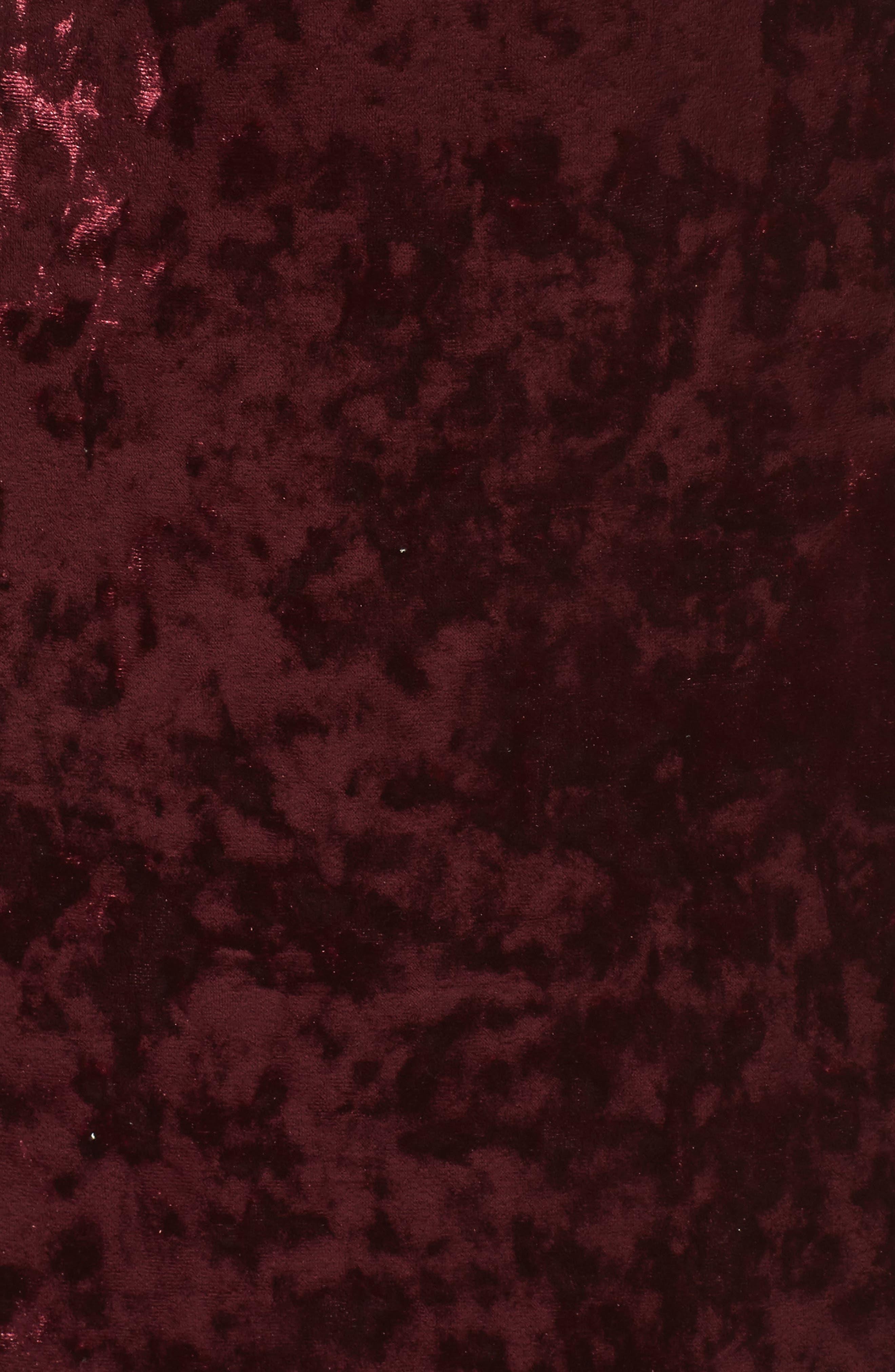 Cutout Back Velvet Sheath Dress,                             Alternate thumbnail 5, color,                             Burgundy