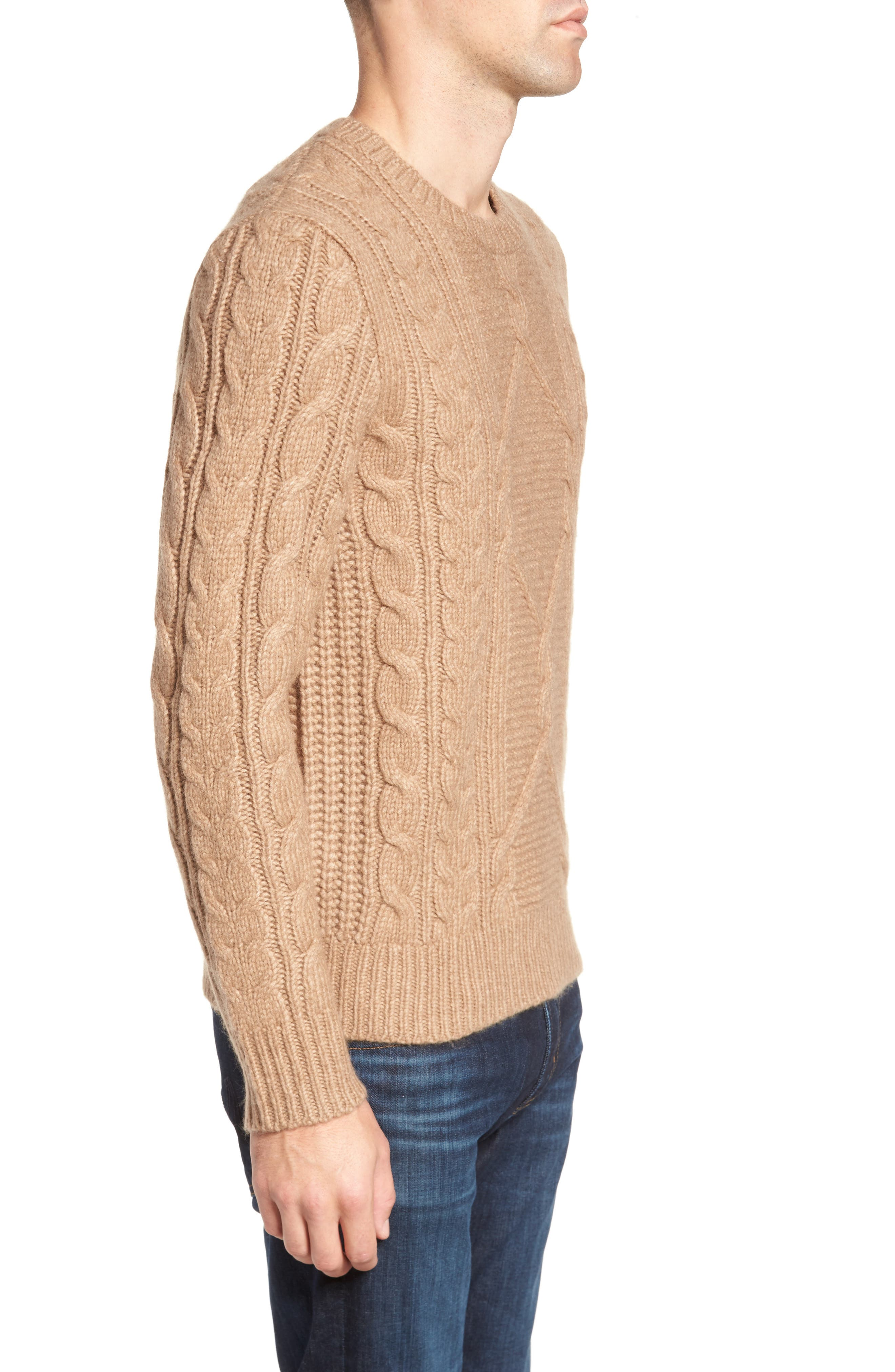 Cable Knit Crewneck Sweater,                             Alternate thumbnail 3, color,                             Camel