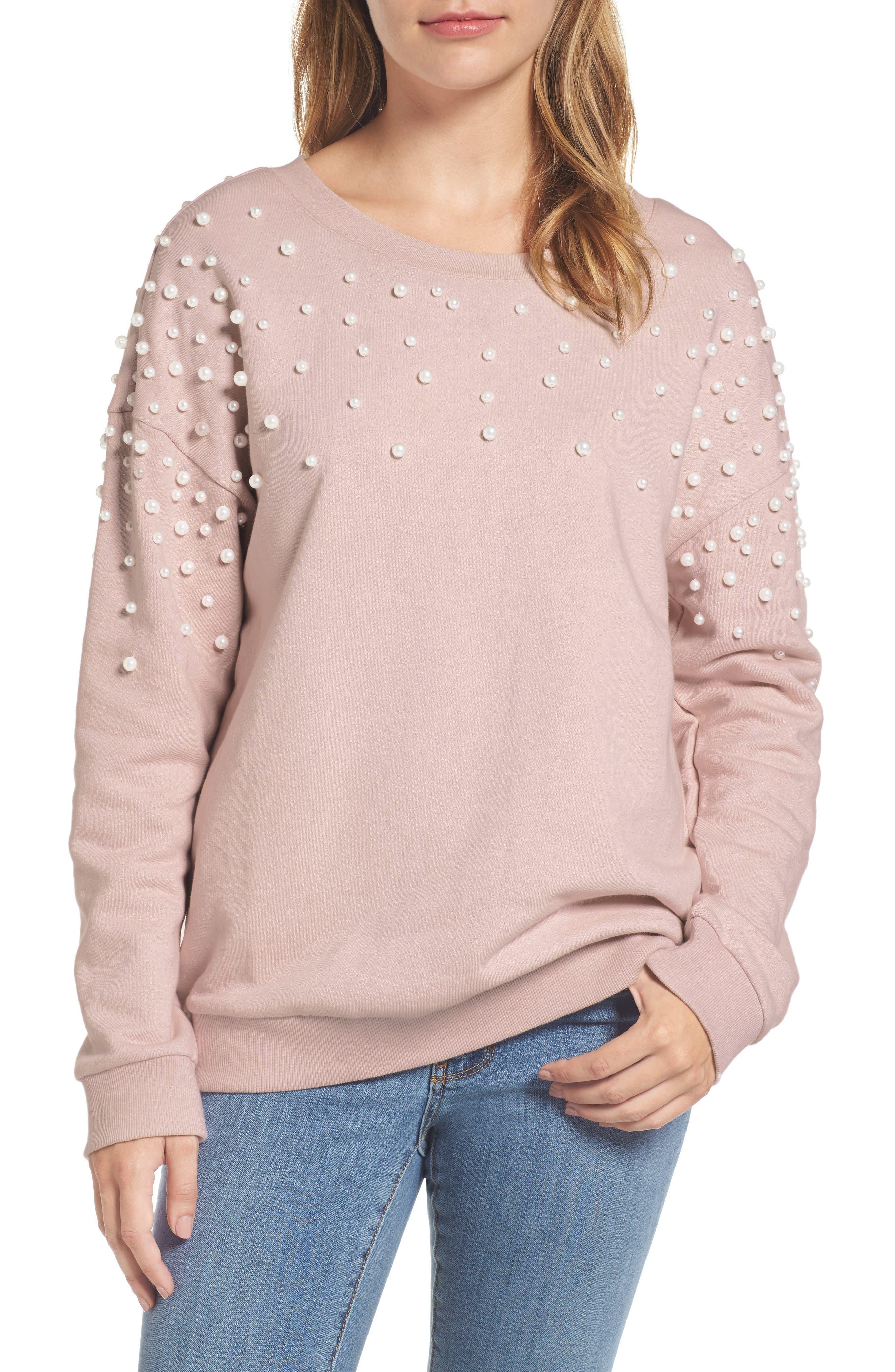 Halogen® Beaded Sweatshirt (Regular & Petite)