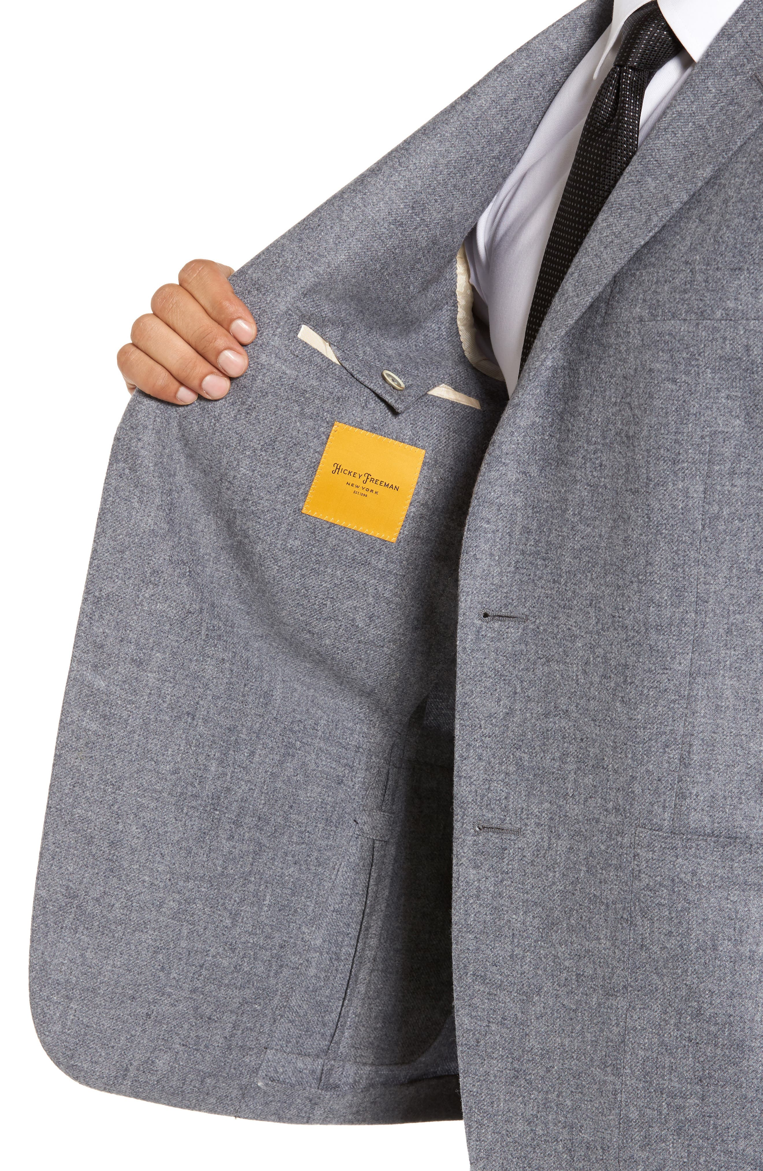 Classic B Fit Wool & Cashmere Blazer,                             Alternate thumbnail 4, color,                             Light Grey Solid