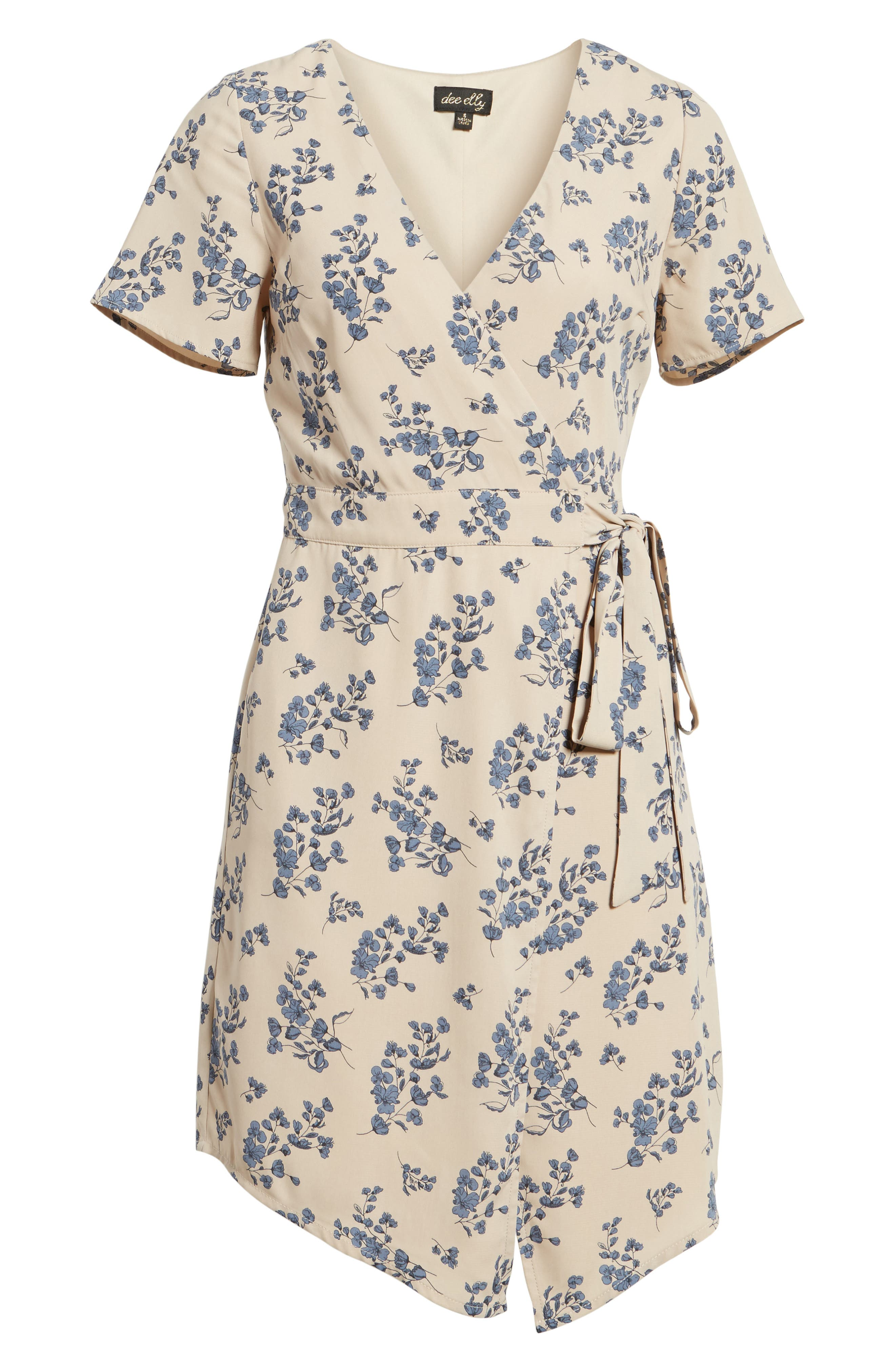 Floral Print Wrap Dress,                             Alternate thumbnail 6, color,                             Taupe Floral