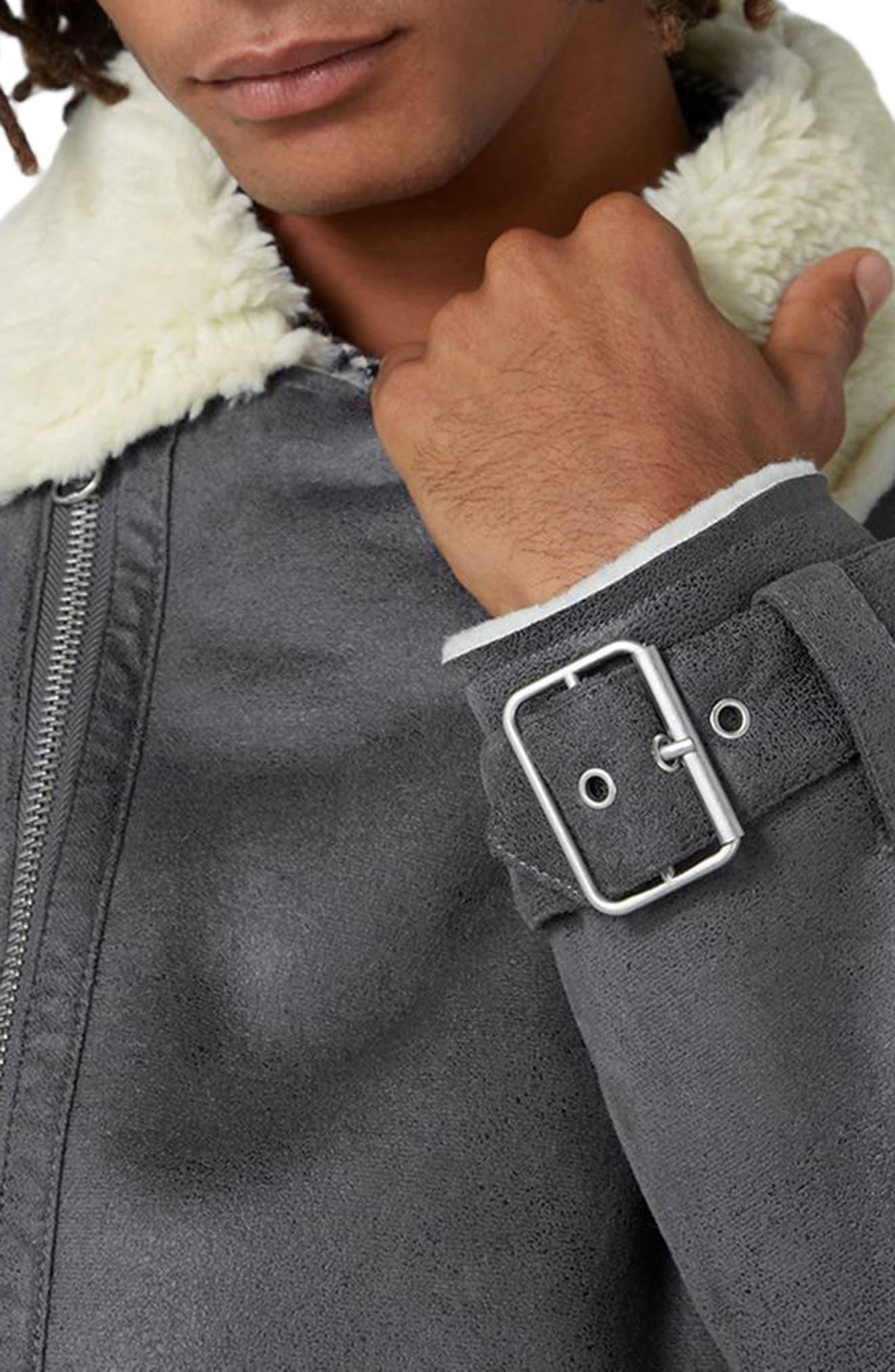 Borg Collar Faux Shearling Jacket,                             Alternate thumbnail 3, color,                             Grey