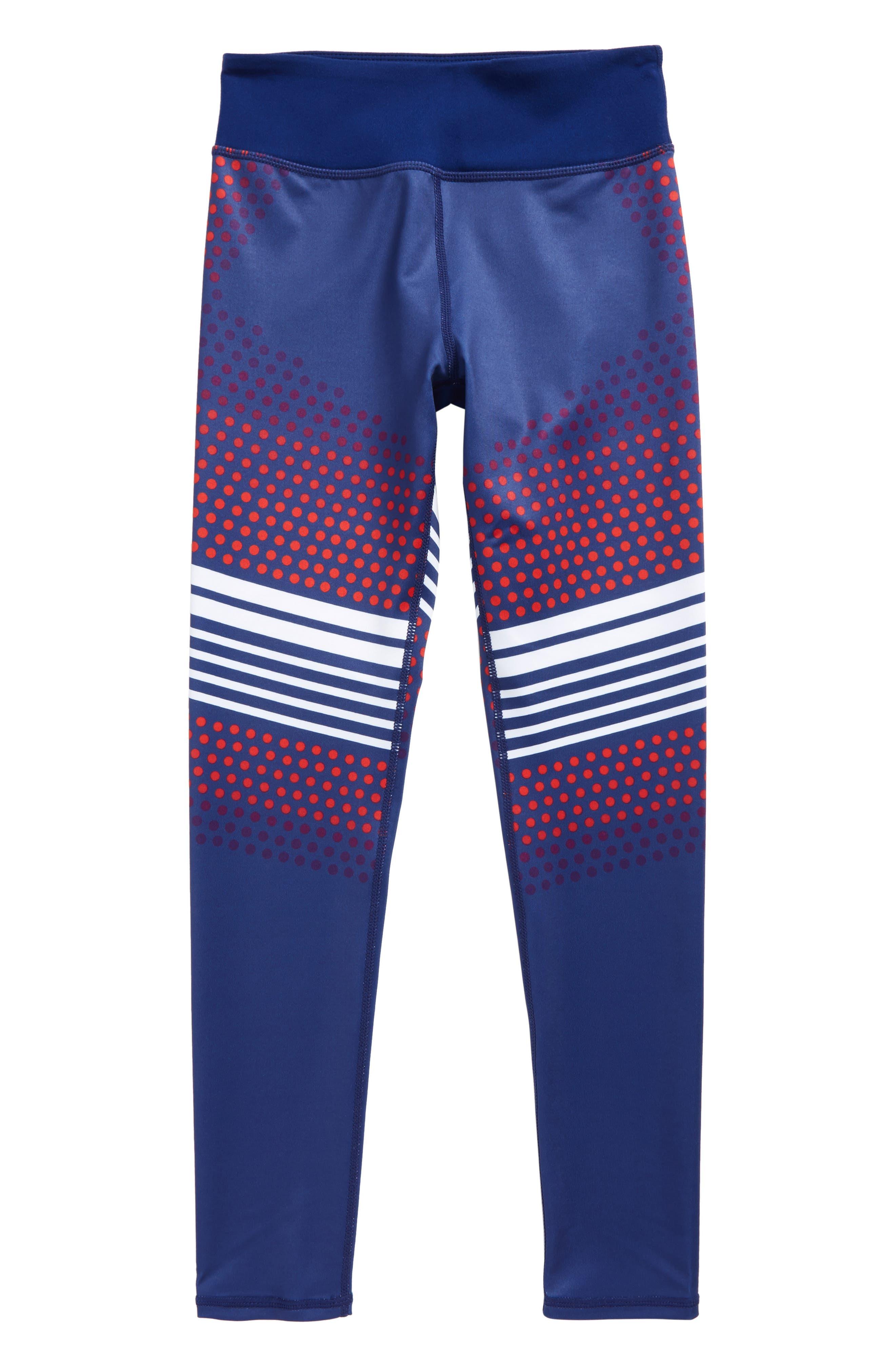 Print High Waist Leggings,                             Main thumbnail 1, color,                             Blue Depths- White Stripes