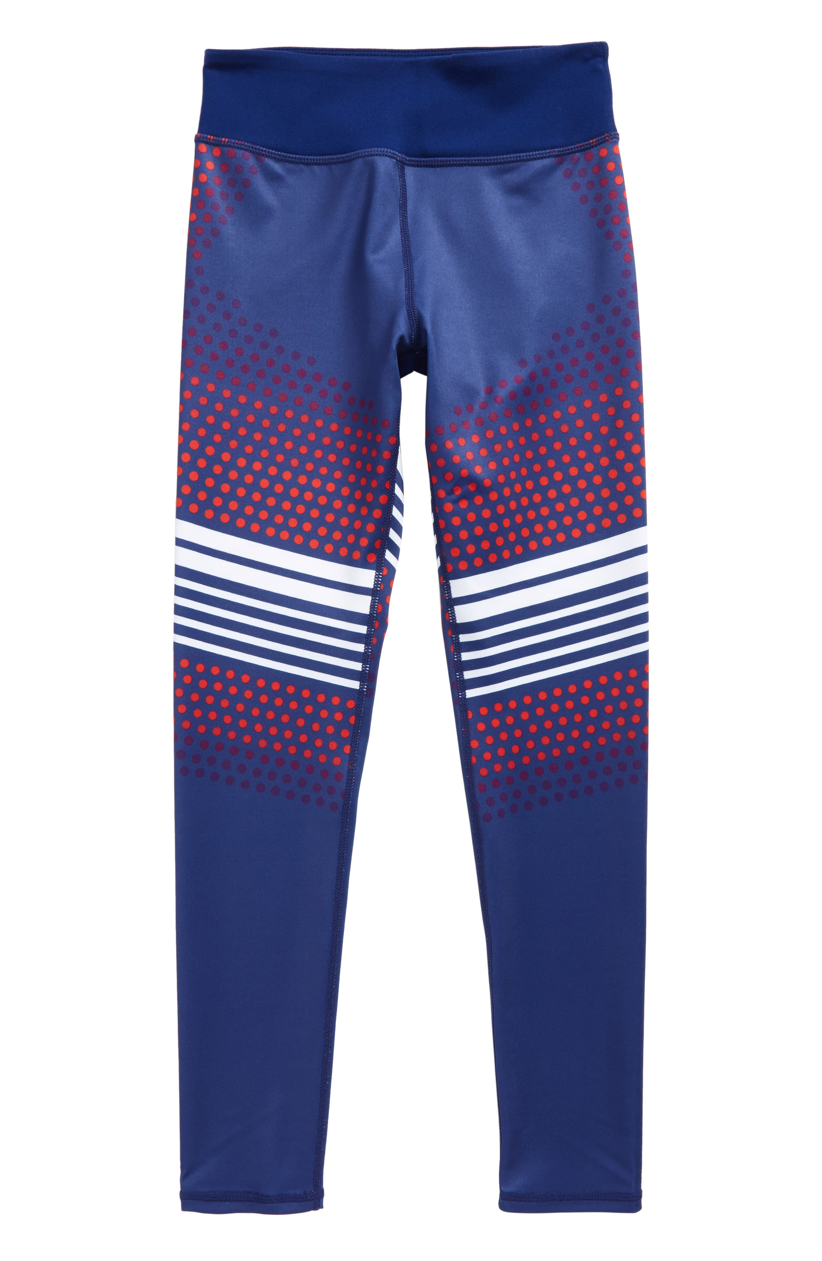 Print High Waist Leggings,                         Main,                         color, Blue Depths- White Stripes