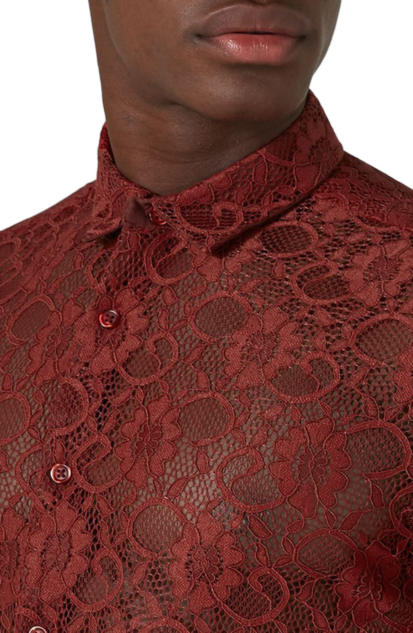 Muscle Fit Sheer Lace Shirt,                             Alternate thumbnail 3, color,                             Red