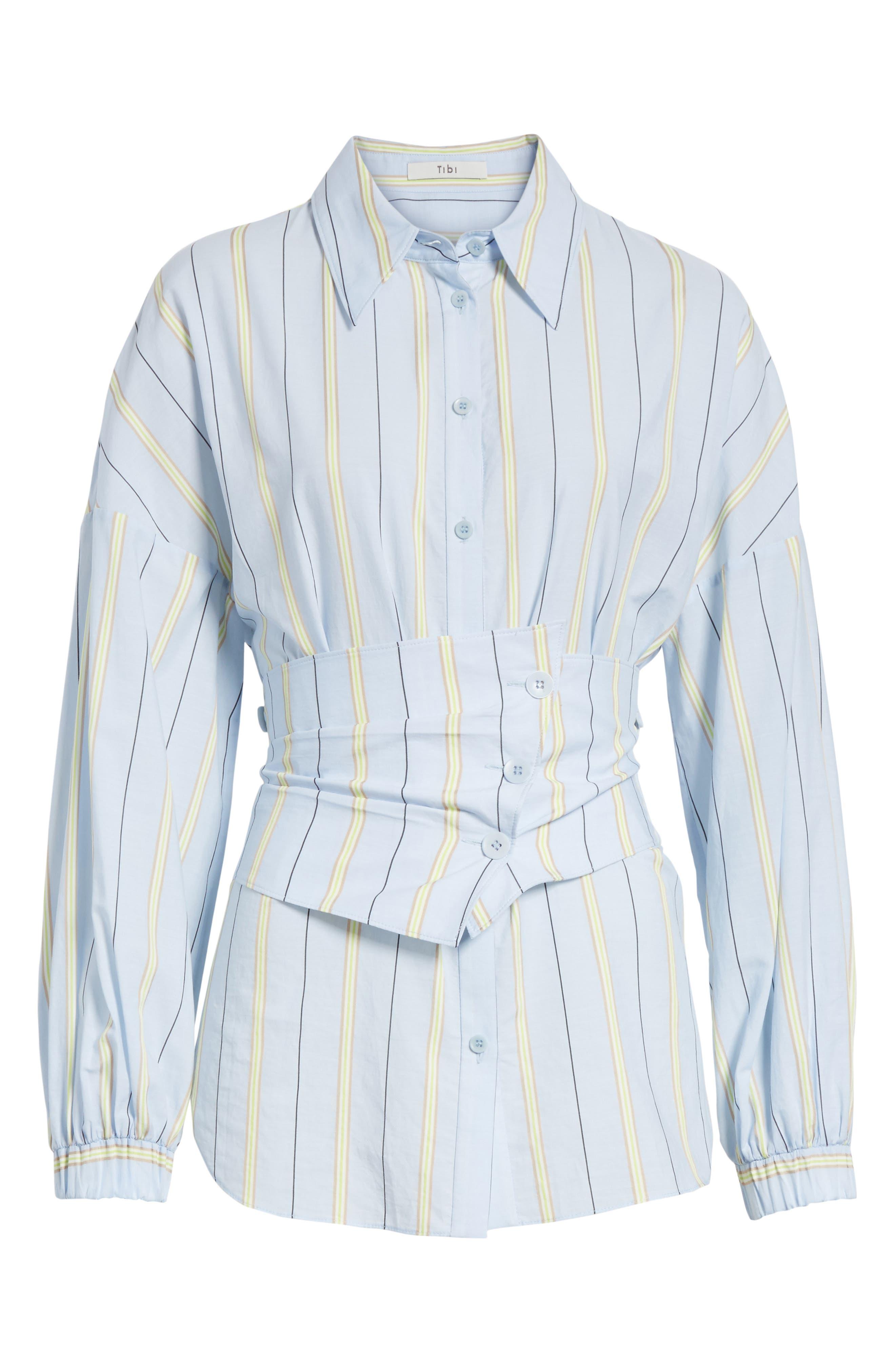 Removable Corset Stripe Shirt,                             Alternate thumbnail 6, color,                             Blue Stripe Multi