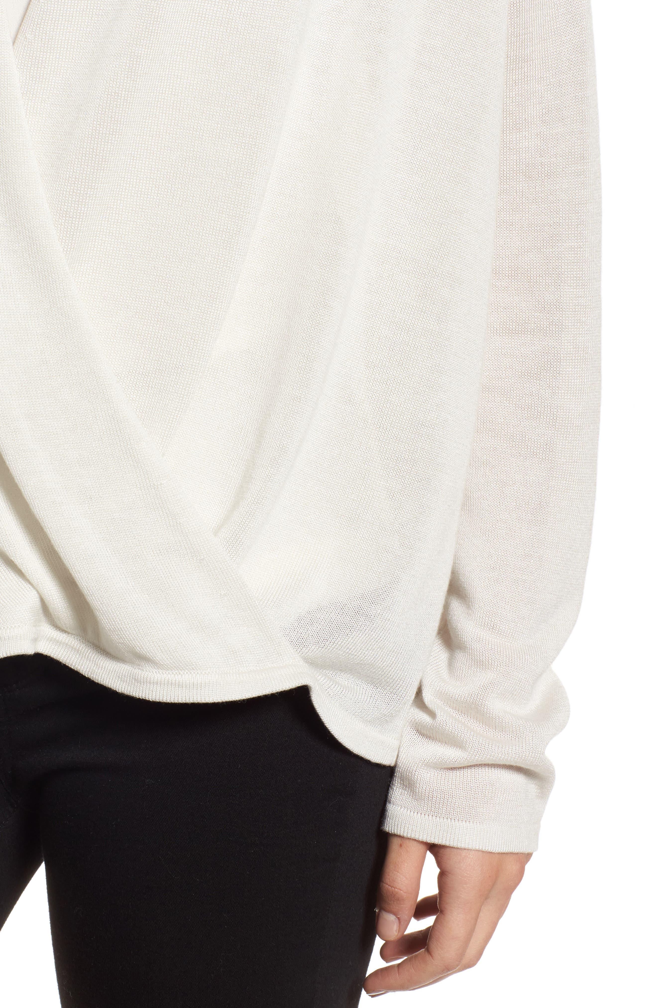 Faux Wrap Tencel<sup>®</sup> Lyocell & Merino Wool Sweater,                             Alternate thumbnail 4, color,                             Bone