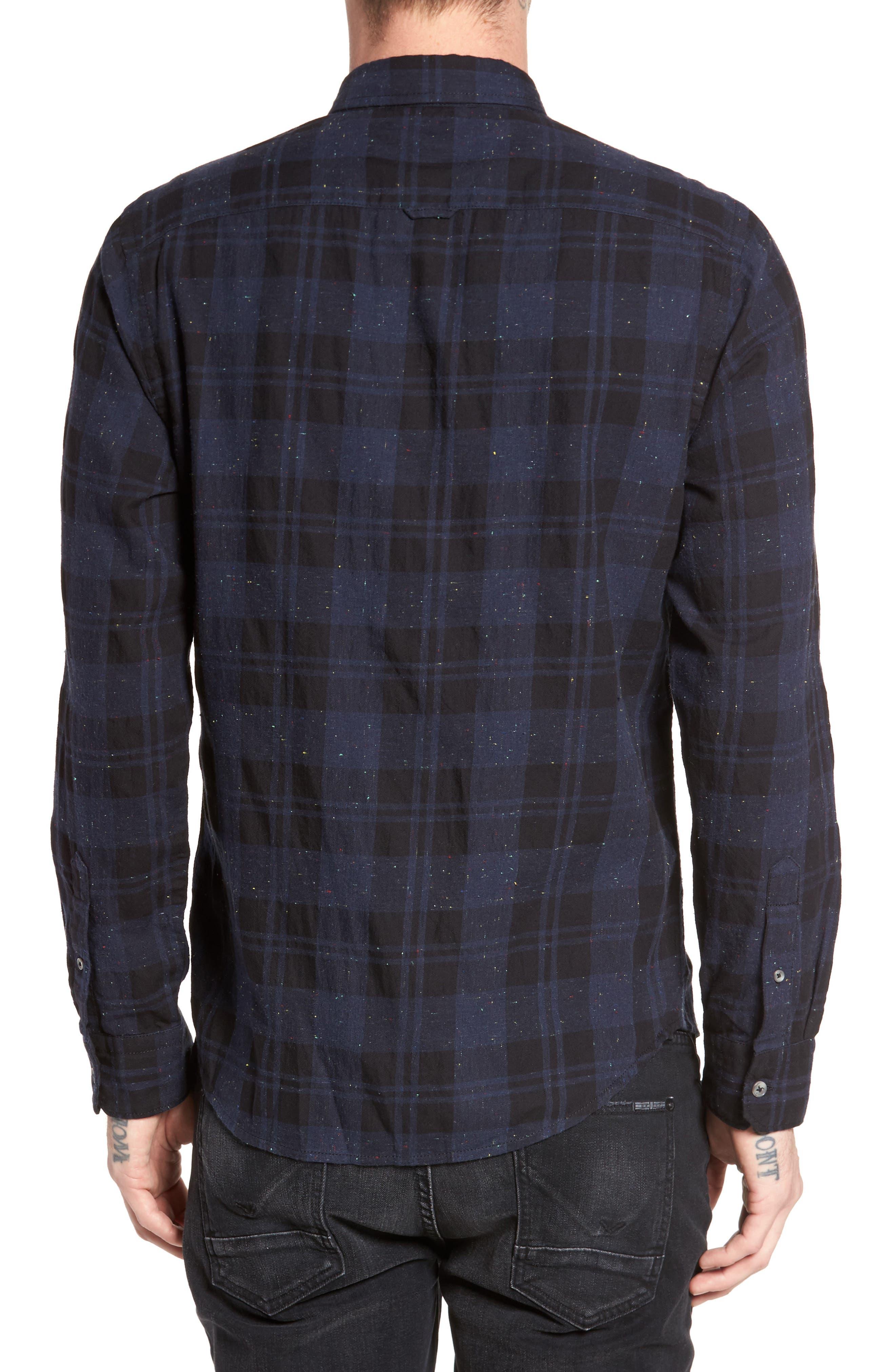 Long Sleeve Plaid Nep Shirt,                             Alternate thumbnail 2, color,                             Navy- Black Nepped Plaid