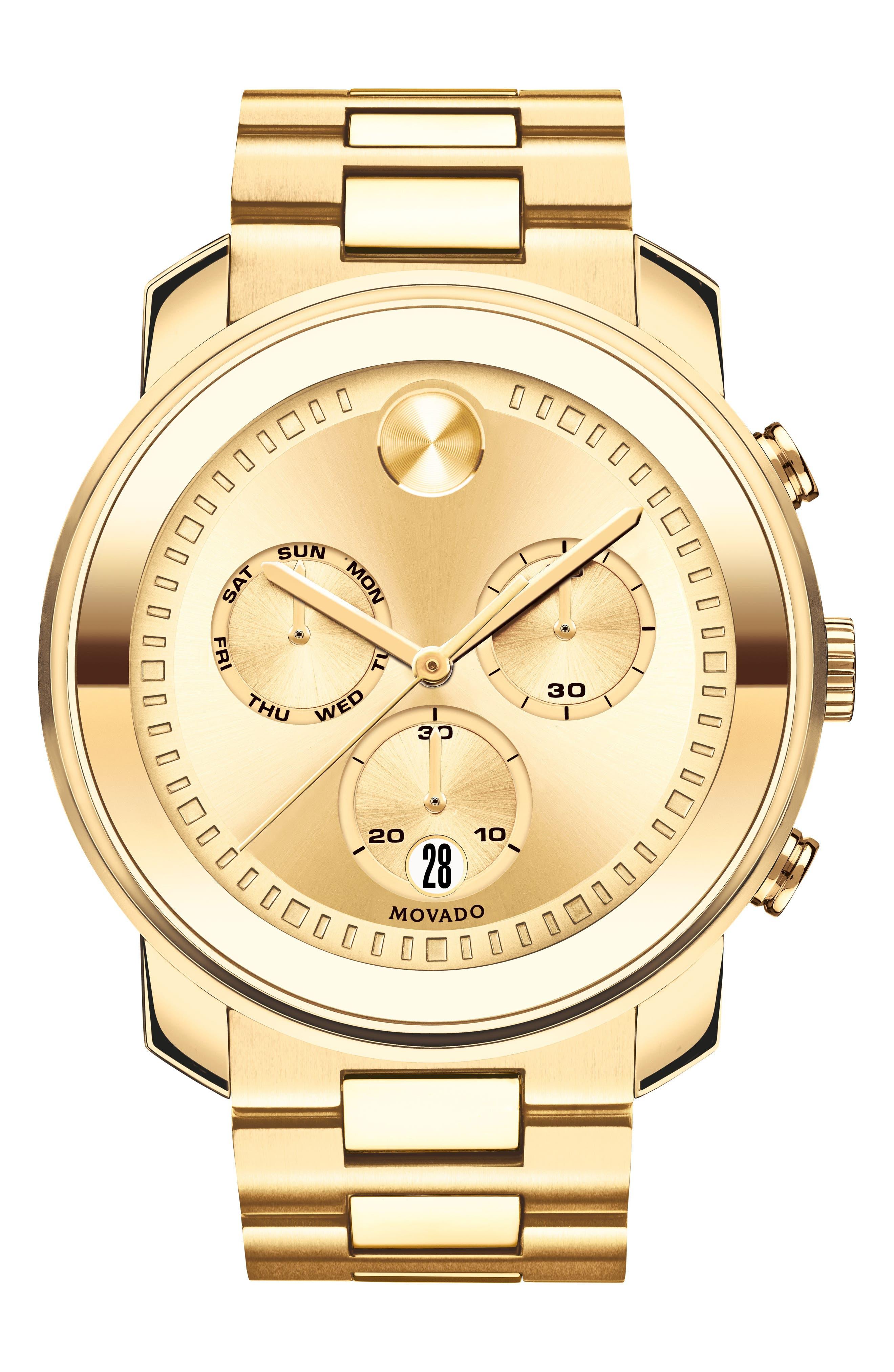 Bold Metals Chronograph Bracelet Watch, 47mm,                             Main thumbnail 1, color,                             Gold