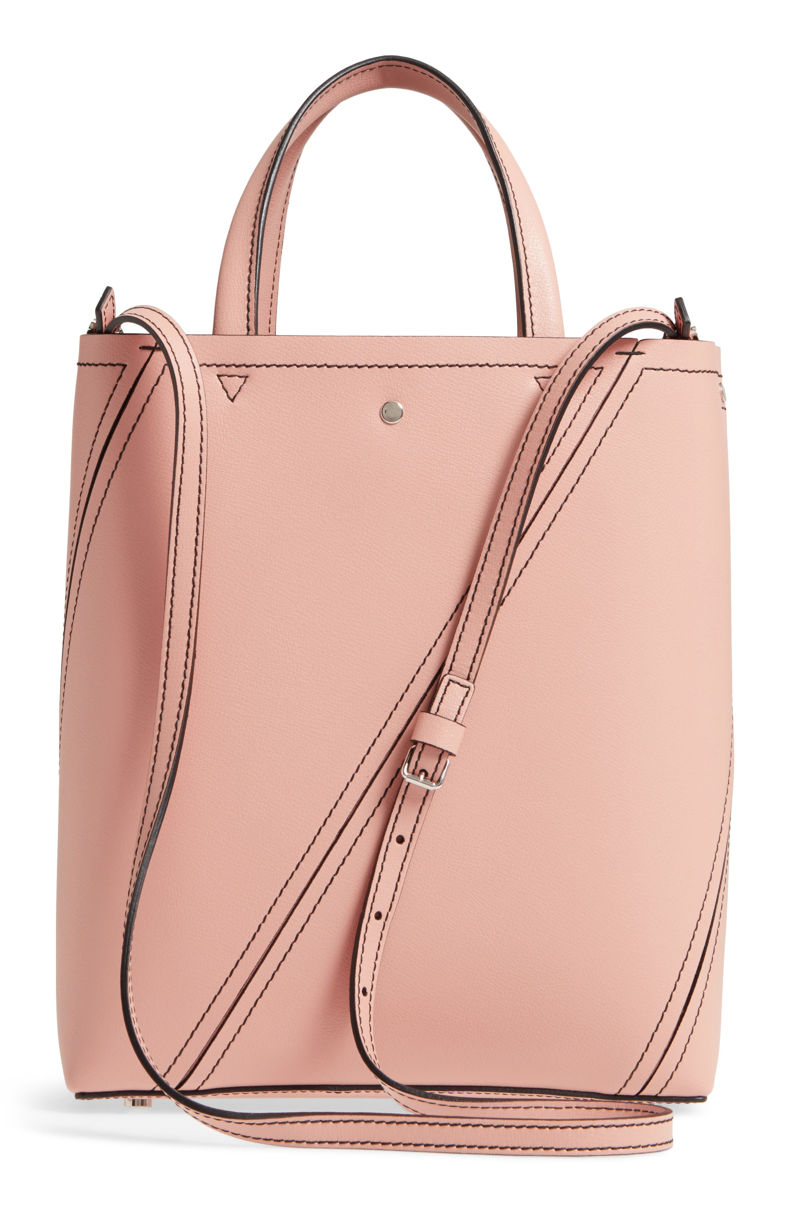 Mini Hex Whipstitch Calfskin Leather Tote,                             Alternate thumbnail 3, color,                             Deep Blush