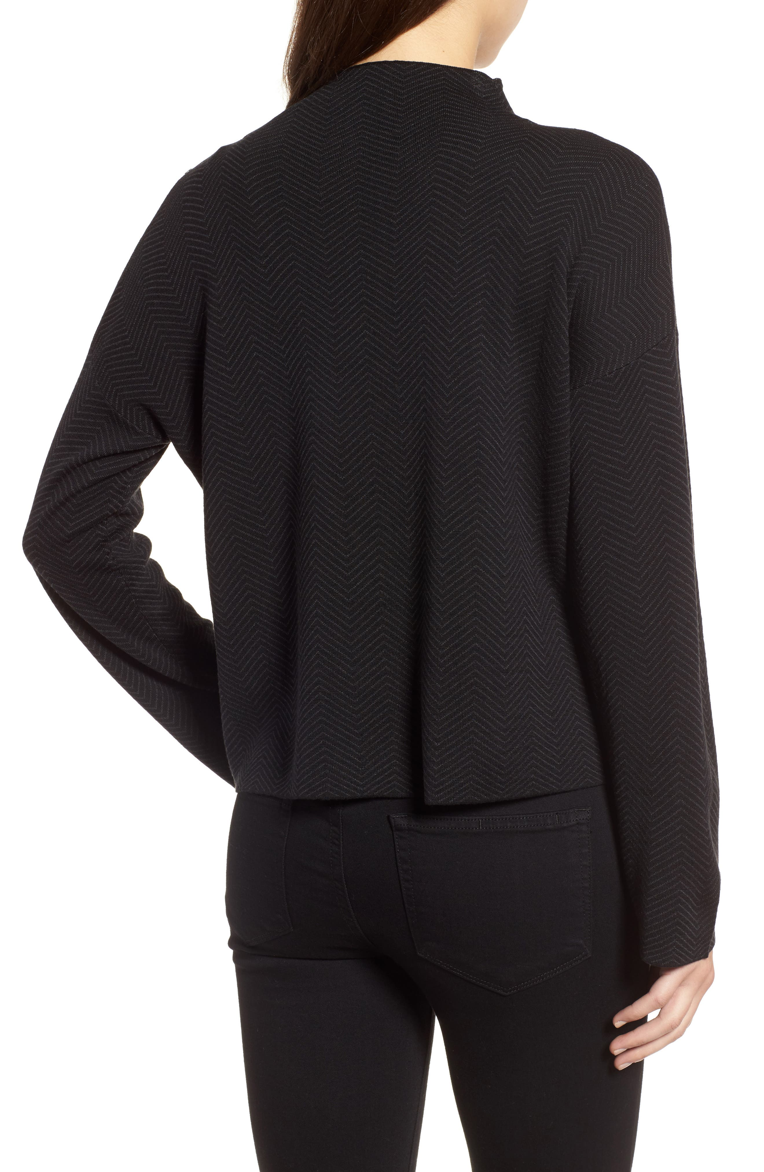 Silk & Organic Cotton Jacquard Top,                             Alternate thumbnail 2, color,                             Black Charcoal