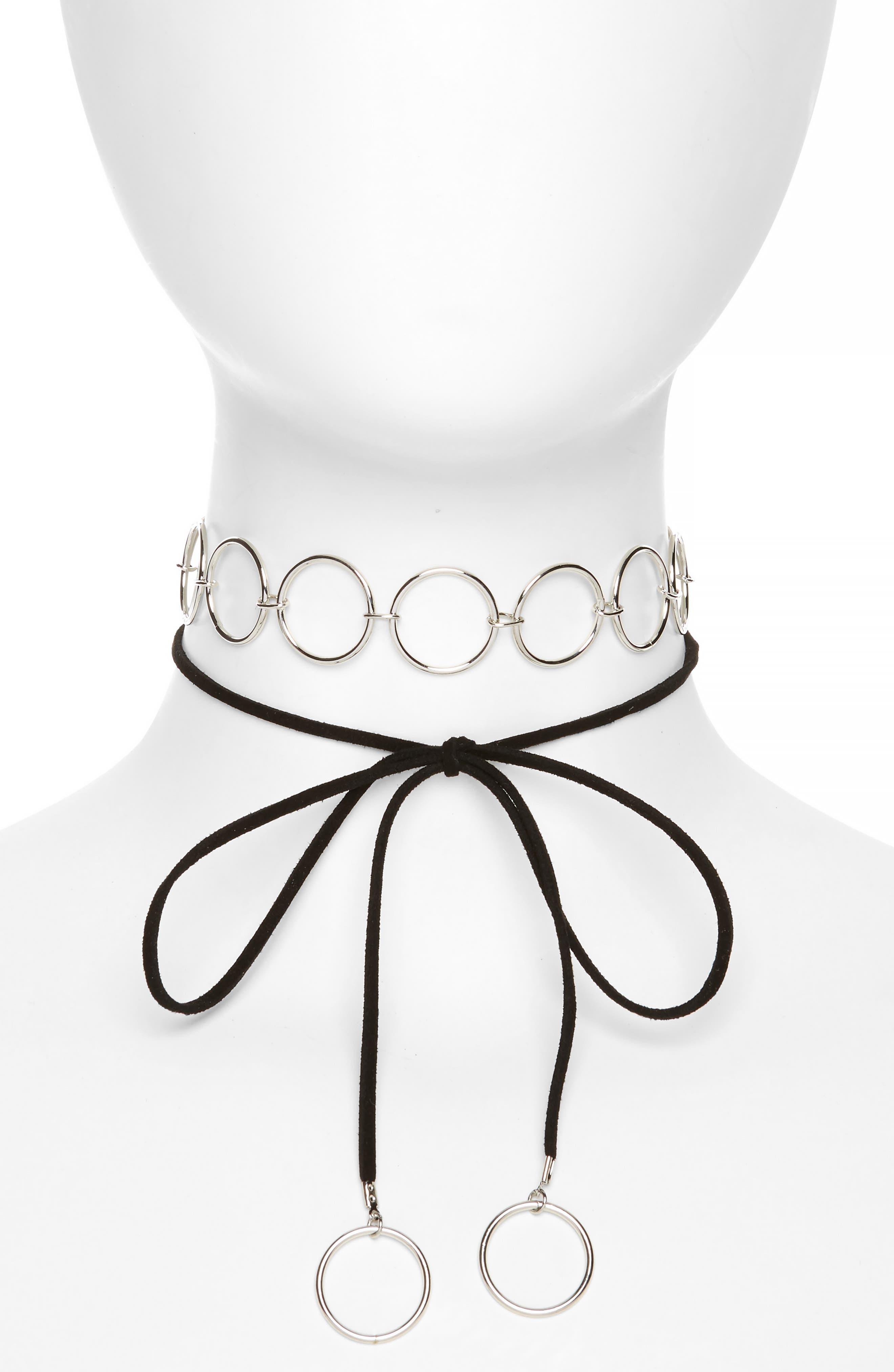 Main Image - Topshop Circle Link Tie Up Choker