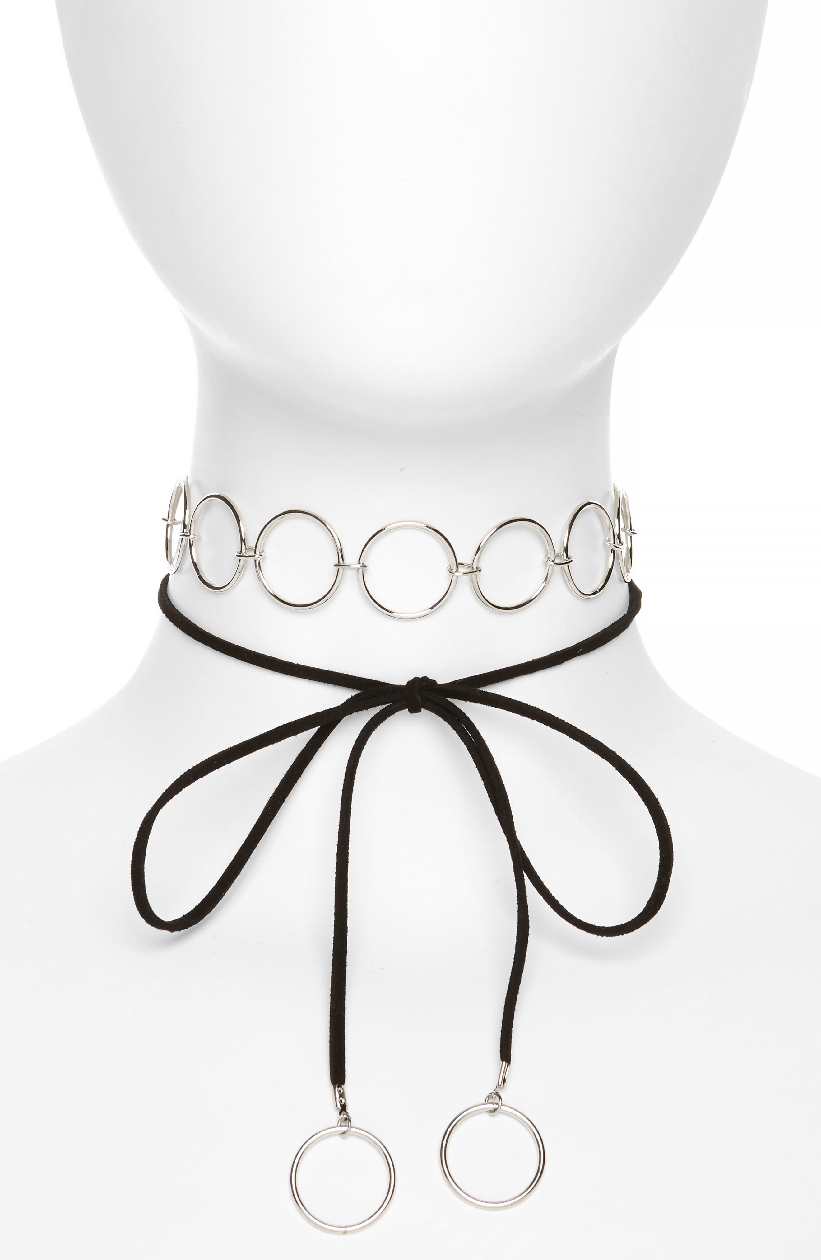 Circle Link Tie Up Choker,                         Main,                         color, Black