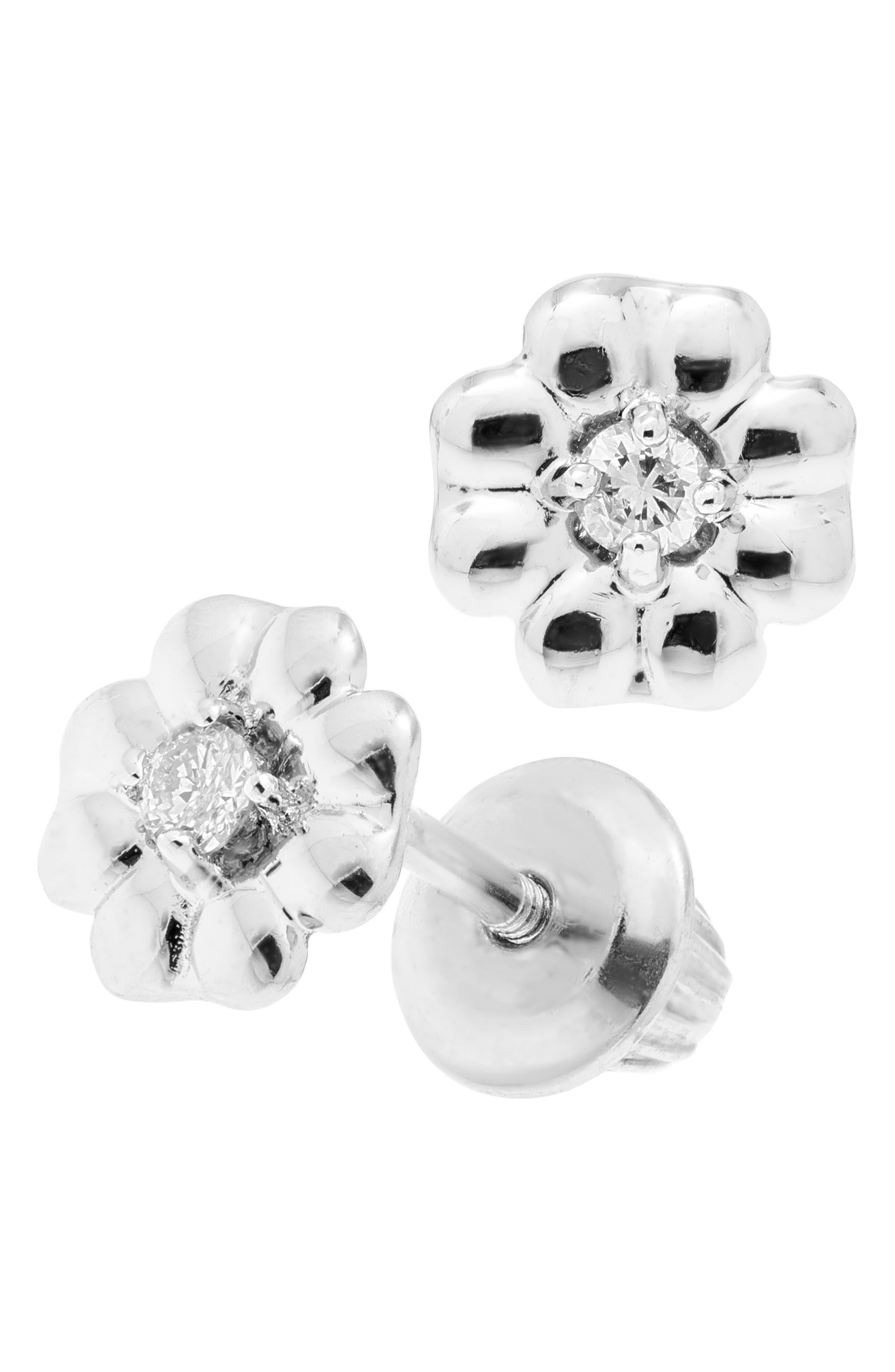 Sterling Silver & Diamond Stud Earrings,                         Main,                         color, Silver