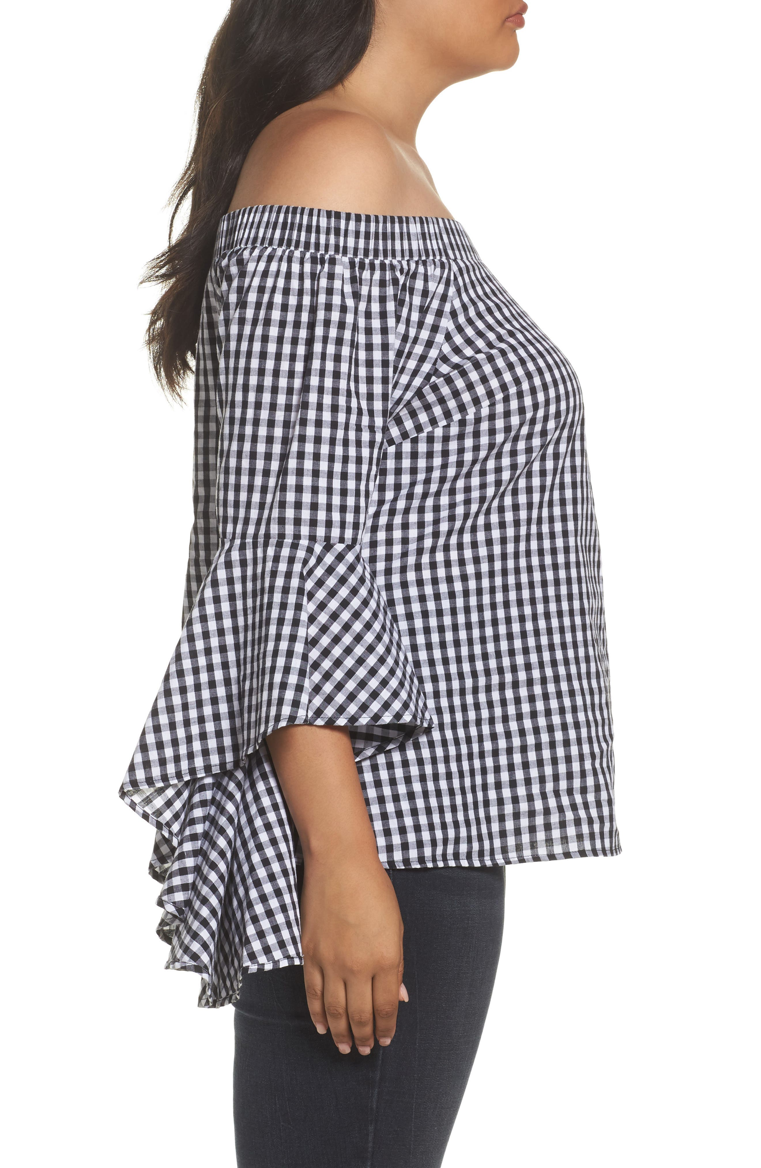 Alternate Image 4  - City Chic Bell Sleeve Off the Shoulder Shirt (Plus Size)