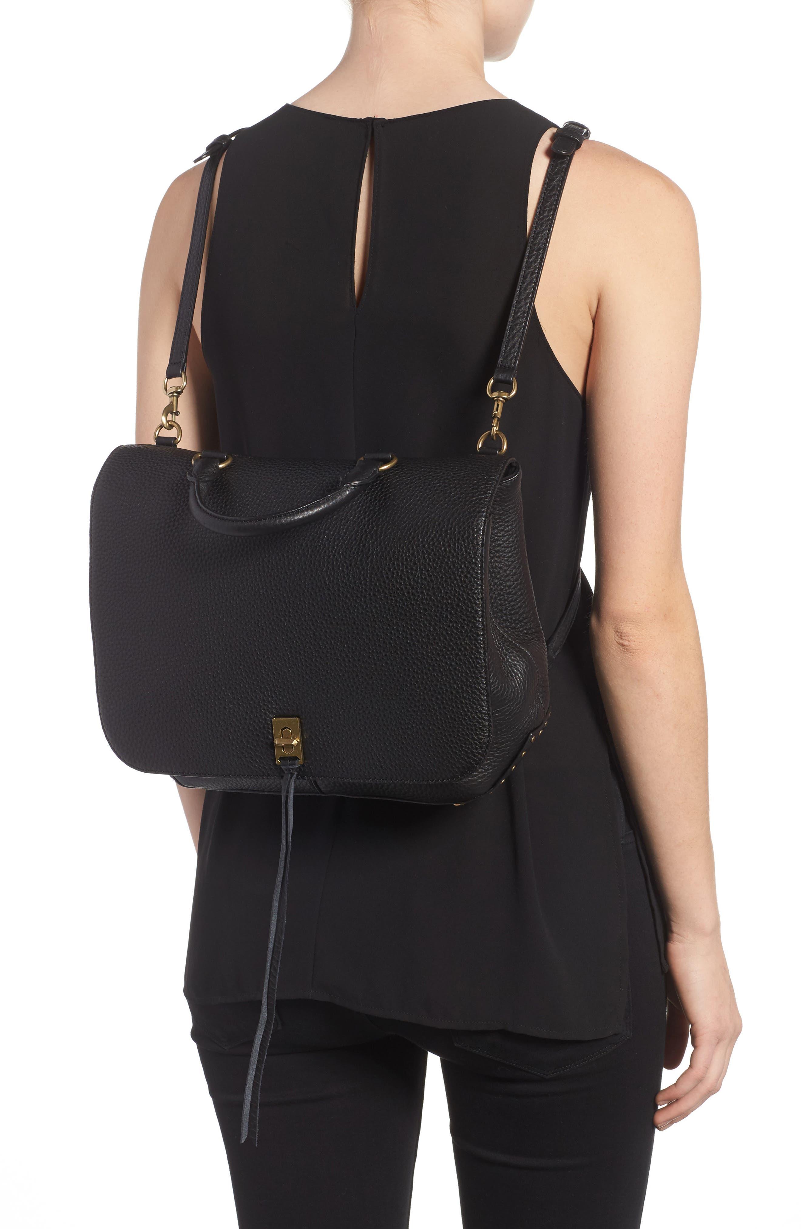 Darren Convertible Leather Backpack,                             Alternate thumbnail 2, color,                             Black