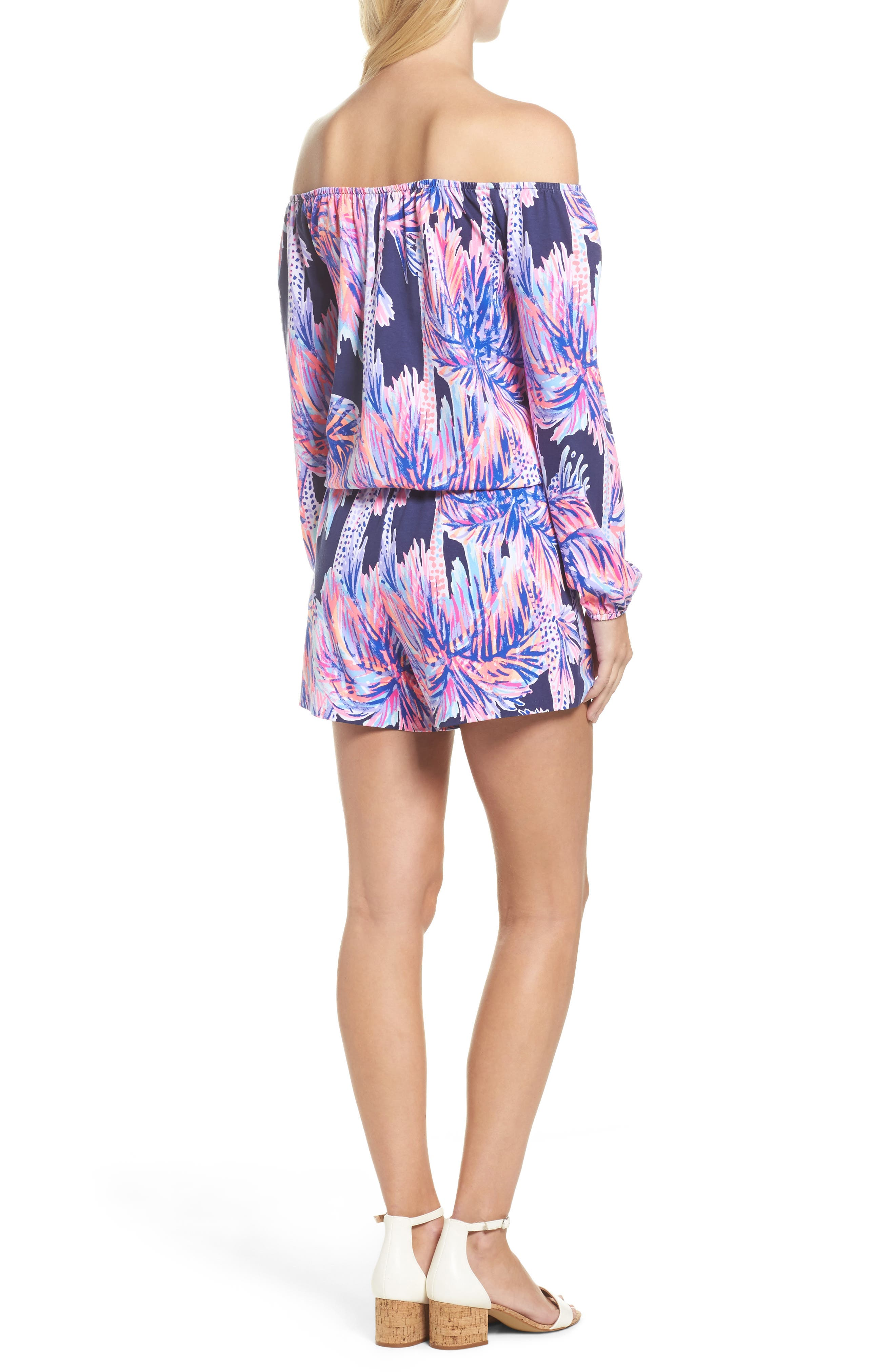 Lana Off the Shoulder Romper,                             Alternate thumbnail 2, color,                             Bright Navy Palms Up