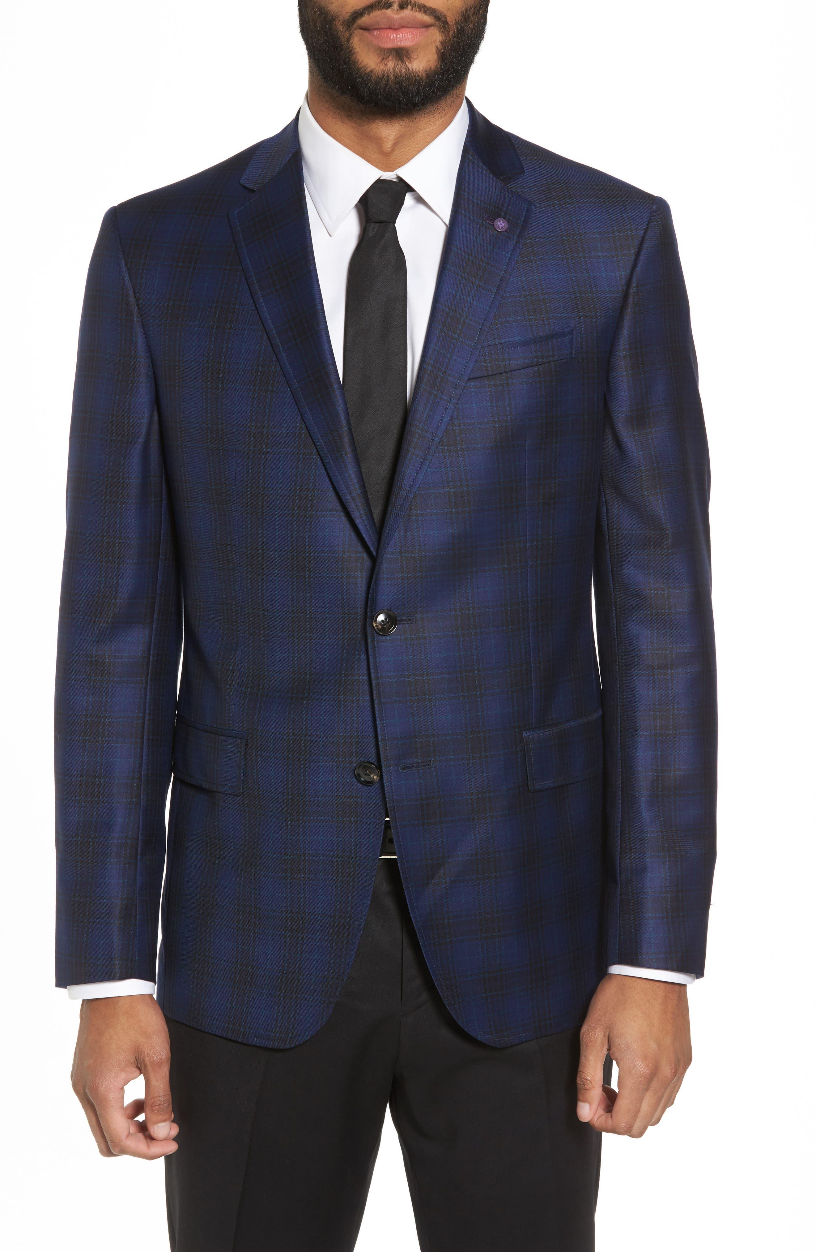 Jay Trim Fit Plaid Wool Sport Coat,                         Main,                         color, Navy