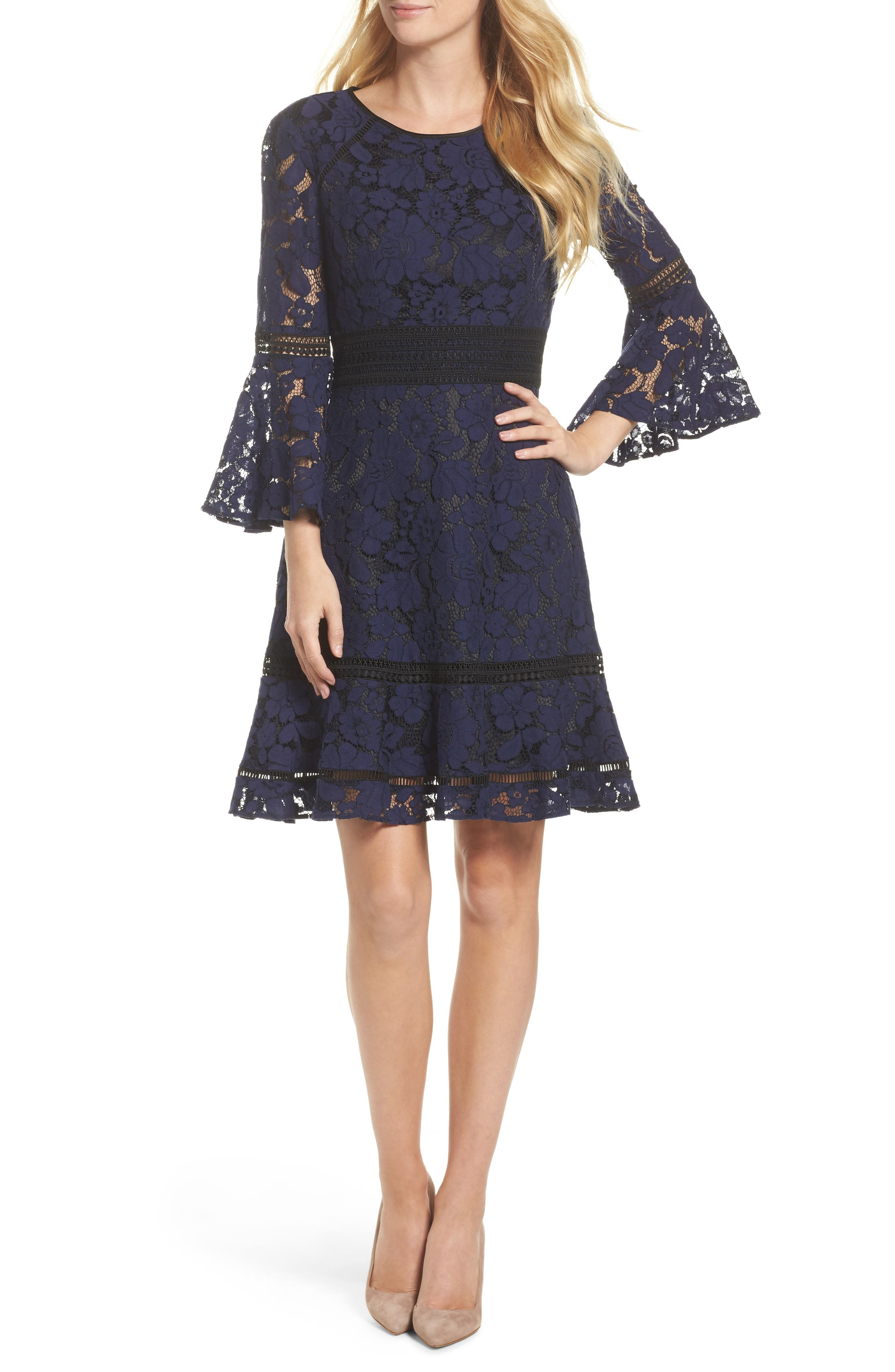 Bell Sleeve Lace Dress,                         Main,                         color, Navy/ Black