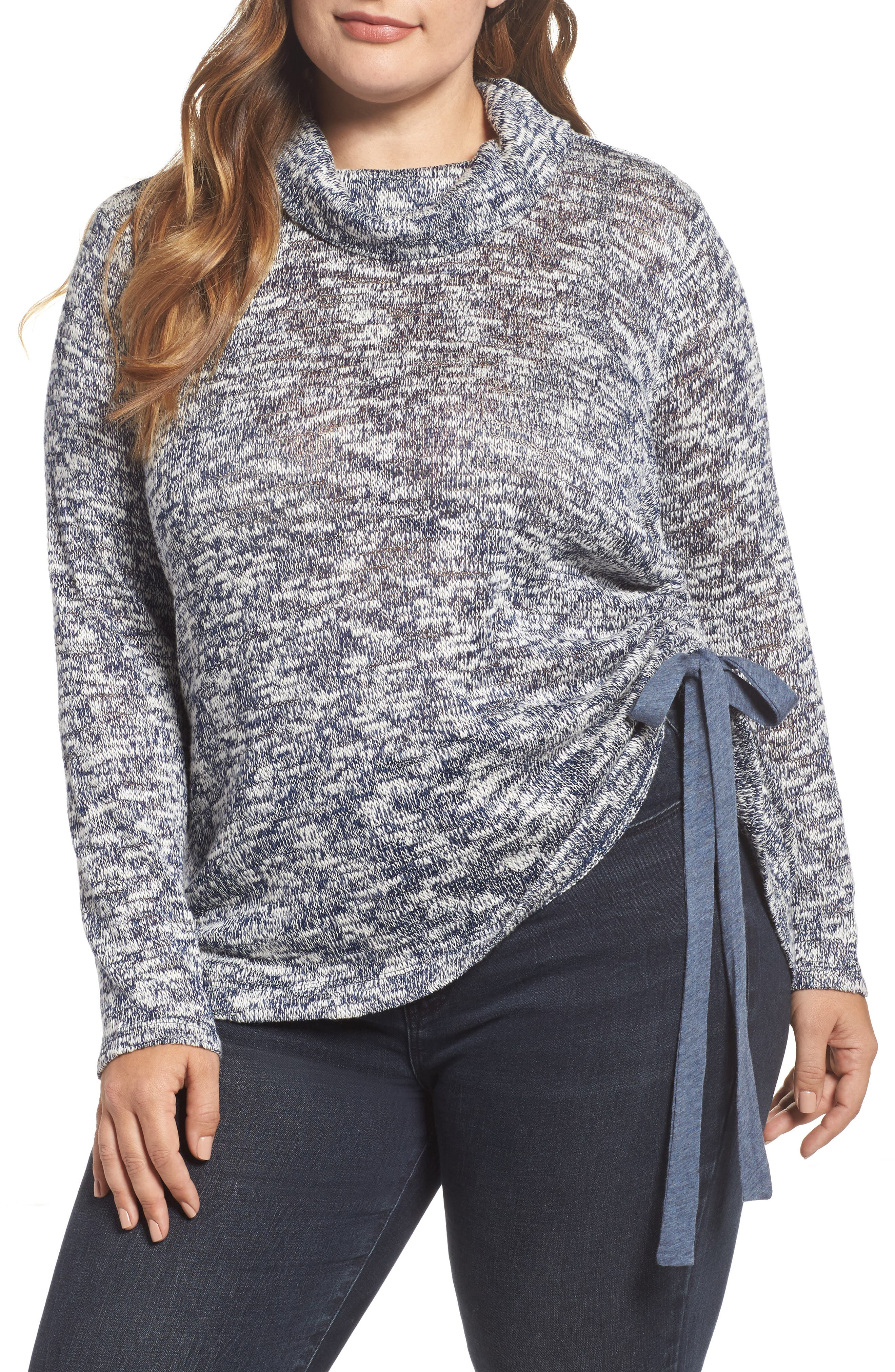 Alternate Image 1 Selected - Two by Vince Camuto Drawstring Side Sweater (Plus Size)