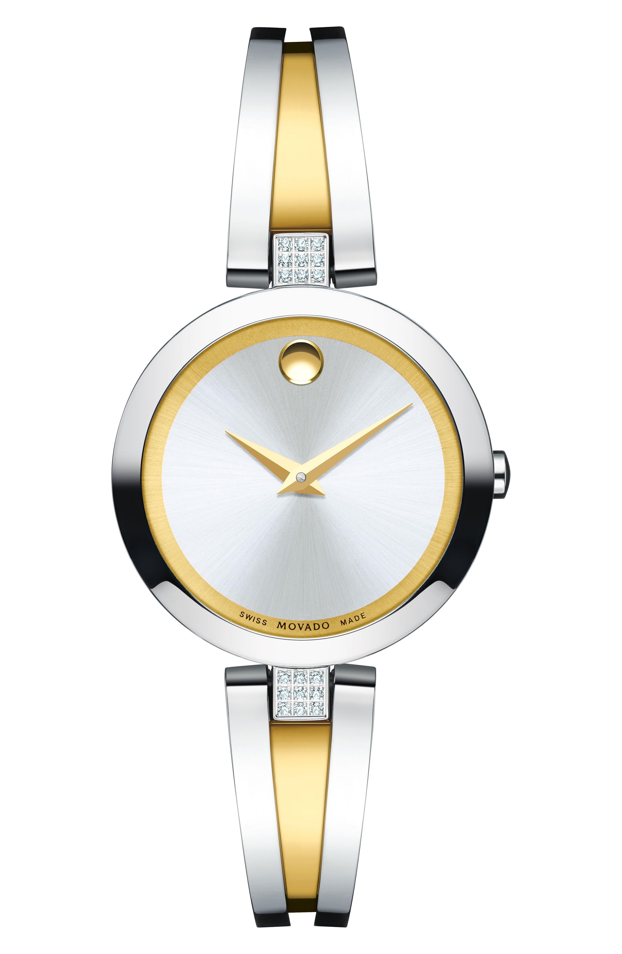 Main Image - Movado Aleena Diamond Bangle Watch, 30mm