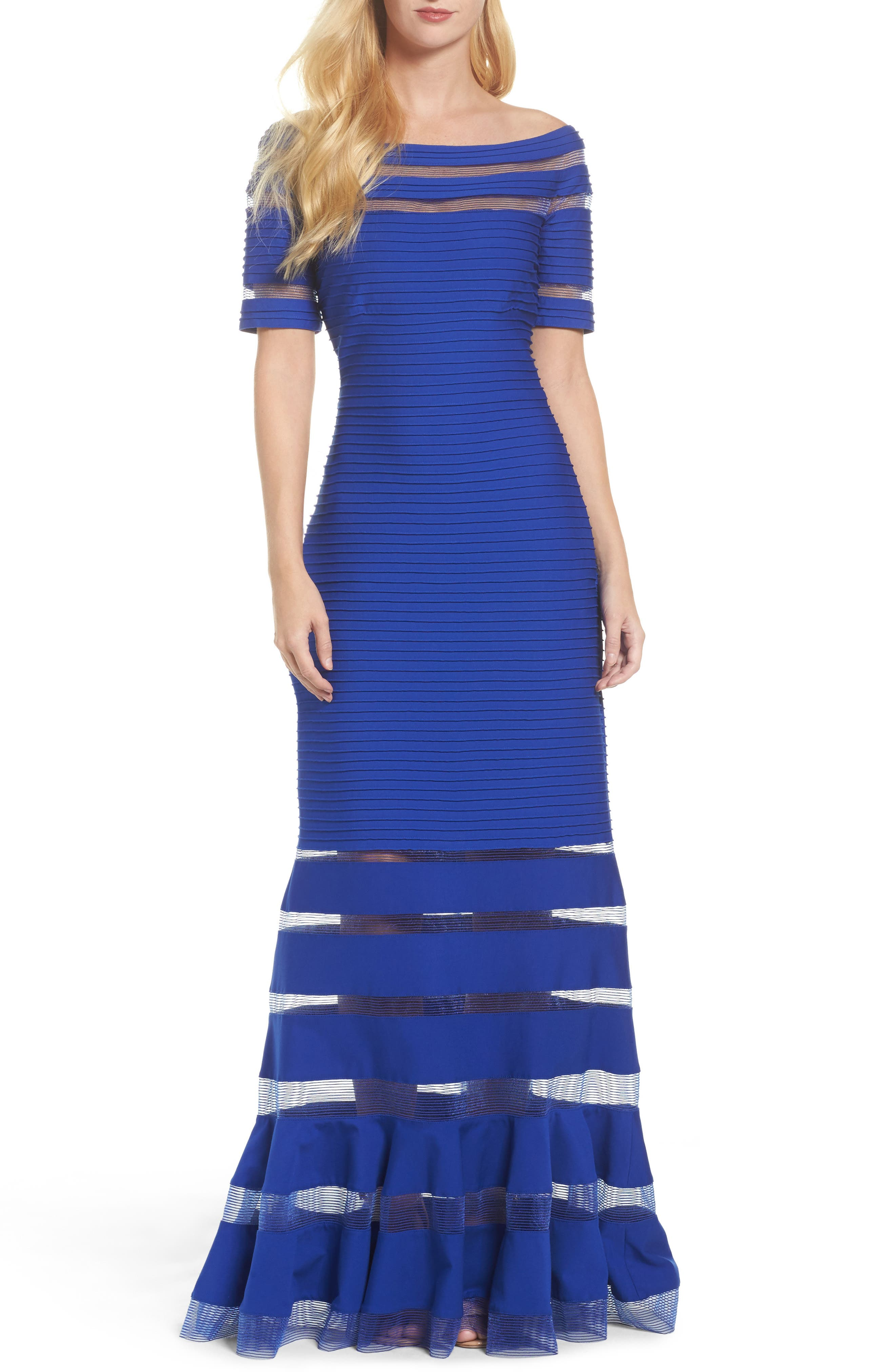 Pintuck Jersey Off the Shoulder Gown,                             Main thumbnail 1, color,                             Marina