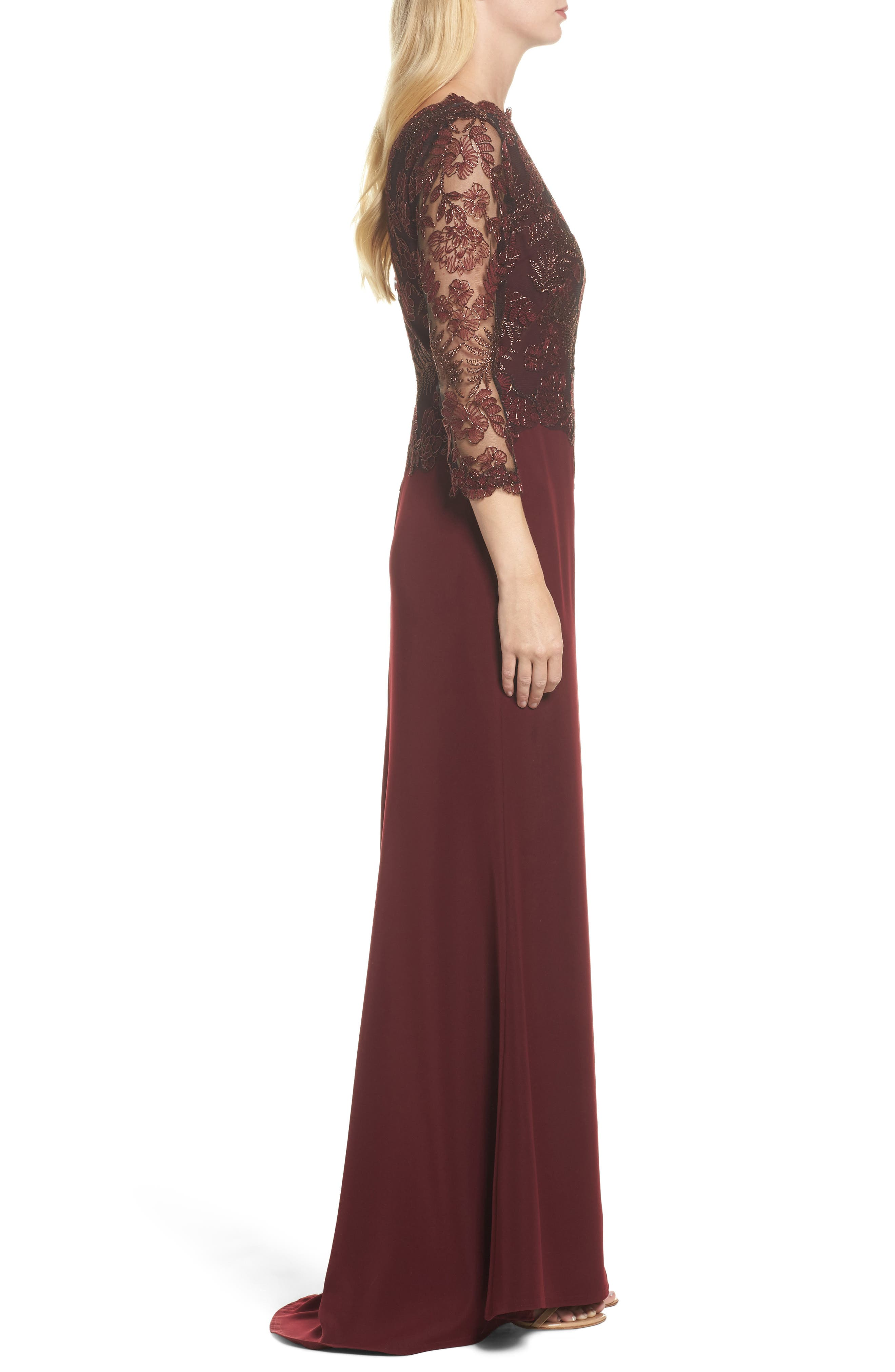 Embroidered Woven Gown,                             Alternate thumbnail 3, color,                             Raisin