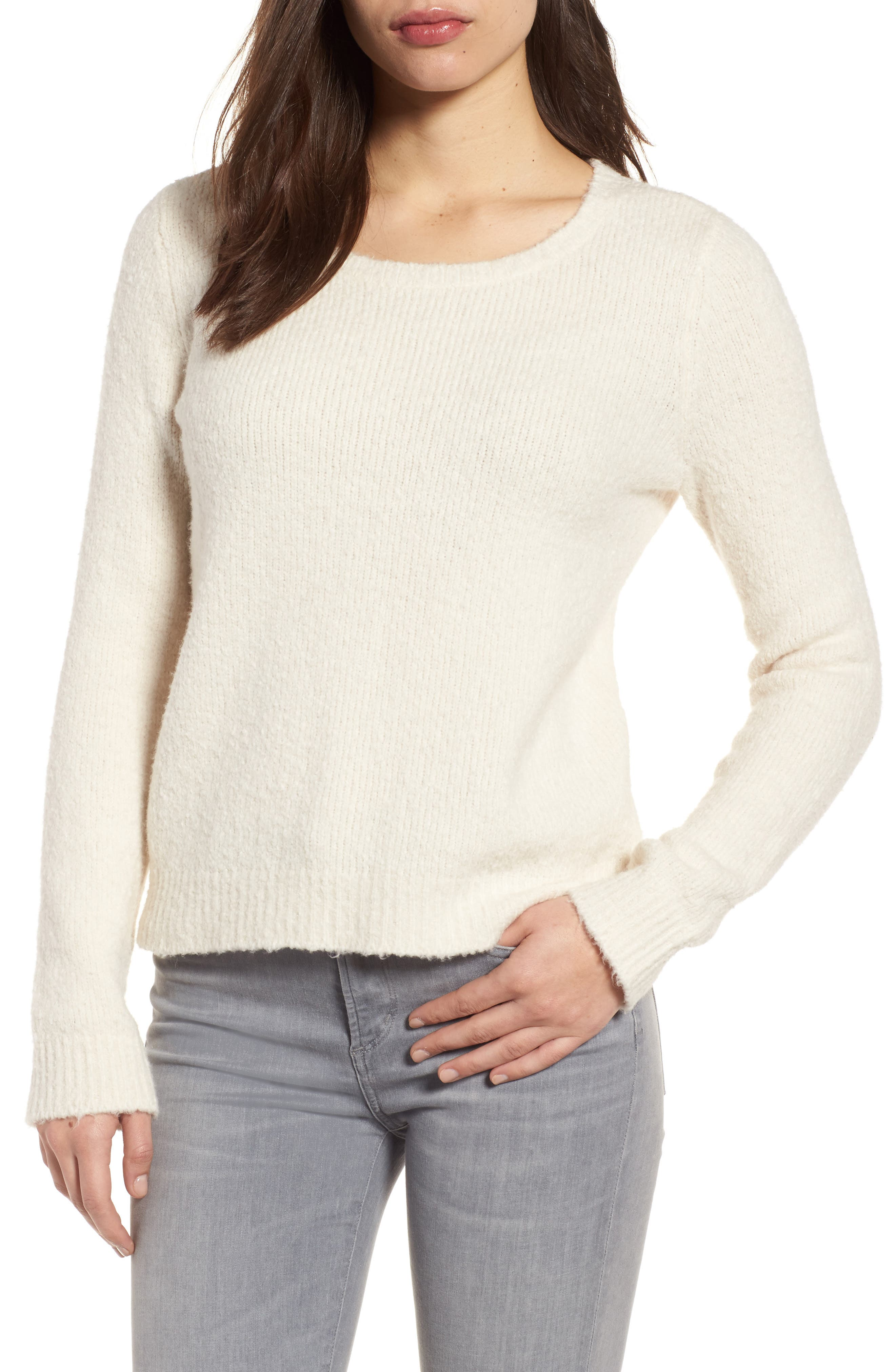 Organic Cotton Blend Sweater,                         Main,                         color, Soft White