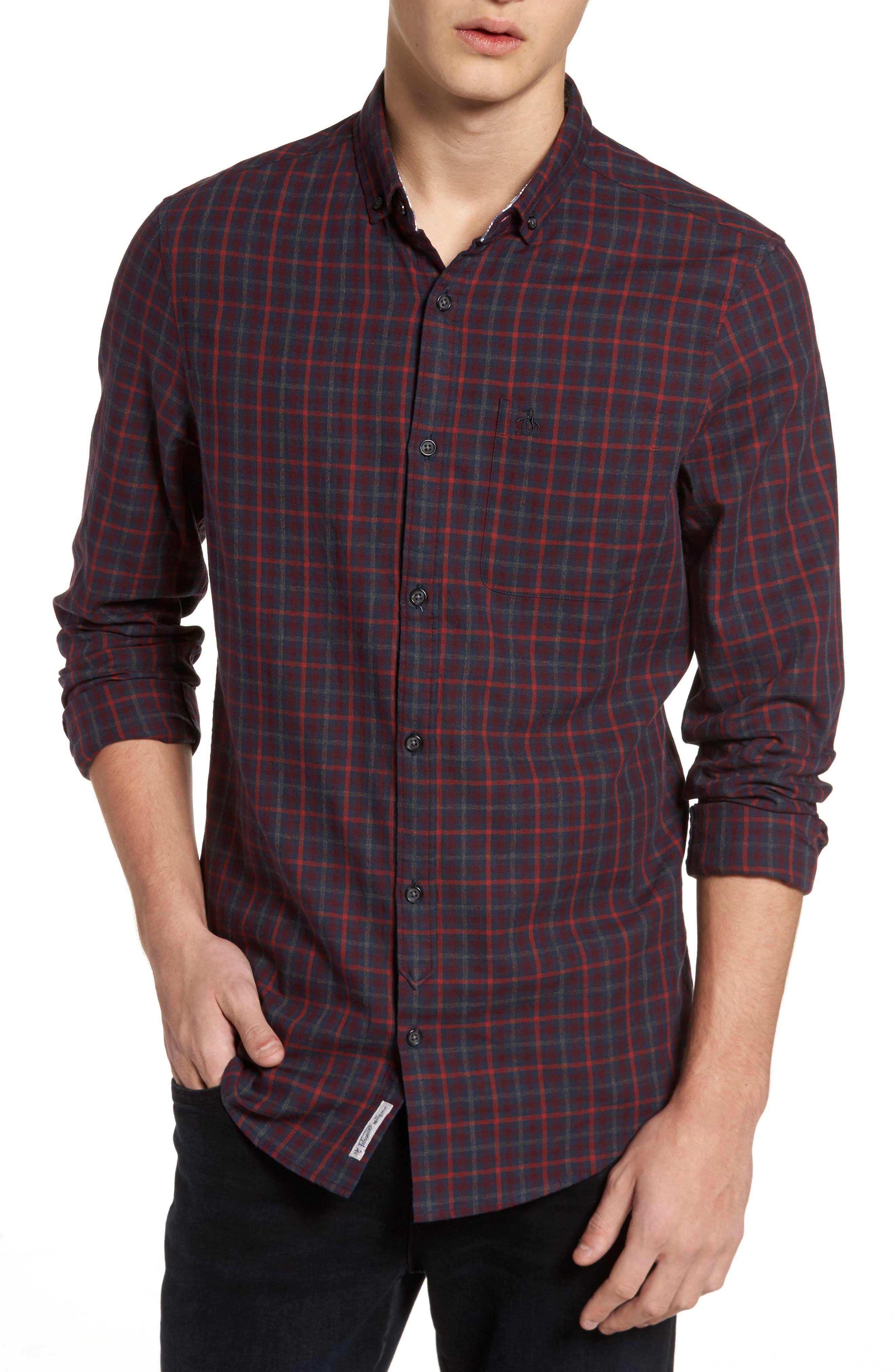 Brushed Flannel Gingham Shirt,                         Main,                         color, Dark Sapphire