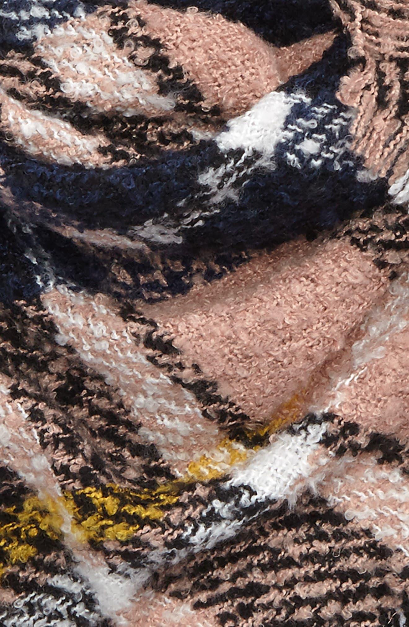 Bouclé Plaid Triangle Scarf,                             Alternate thumbnail 3, color,                             Pink Multi