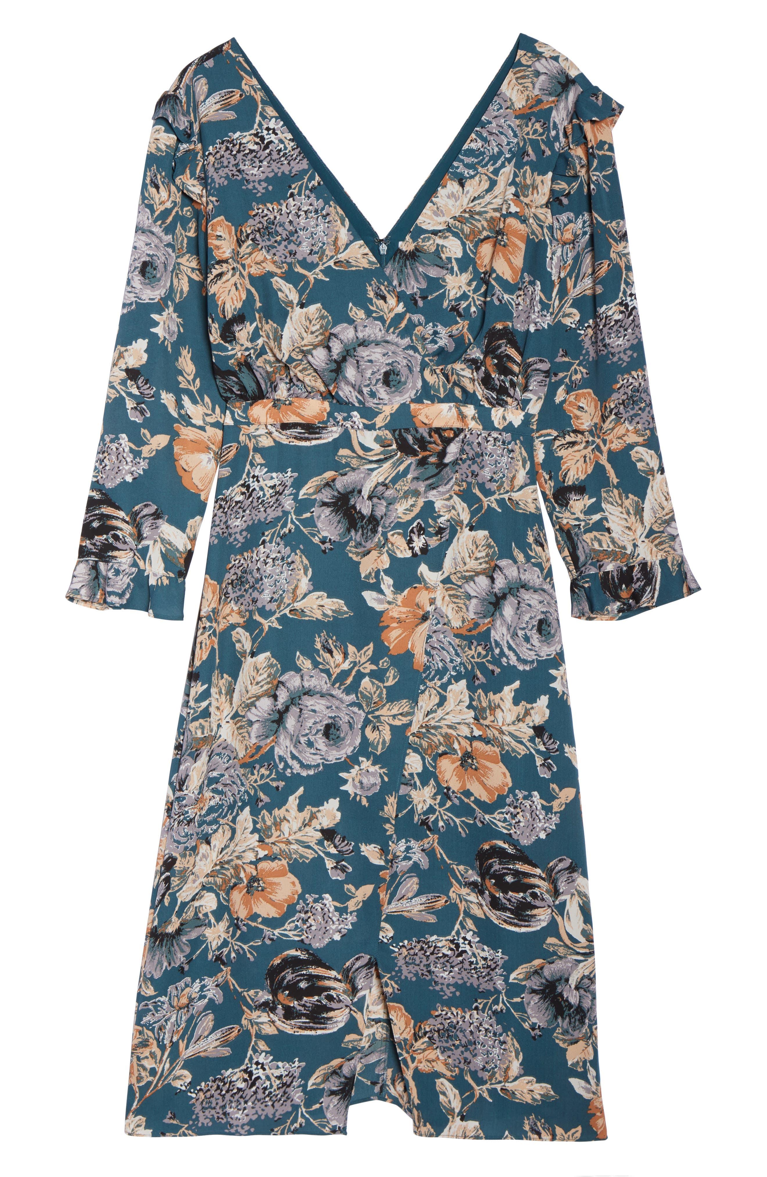 Je T'aime Midi Dress,                             Alternate thumbnail 7, color,                             Spruce Floral