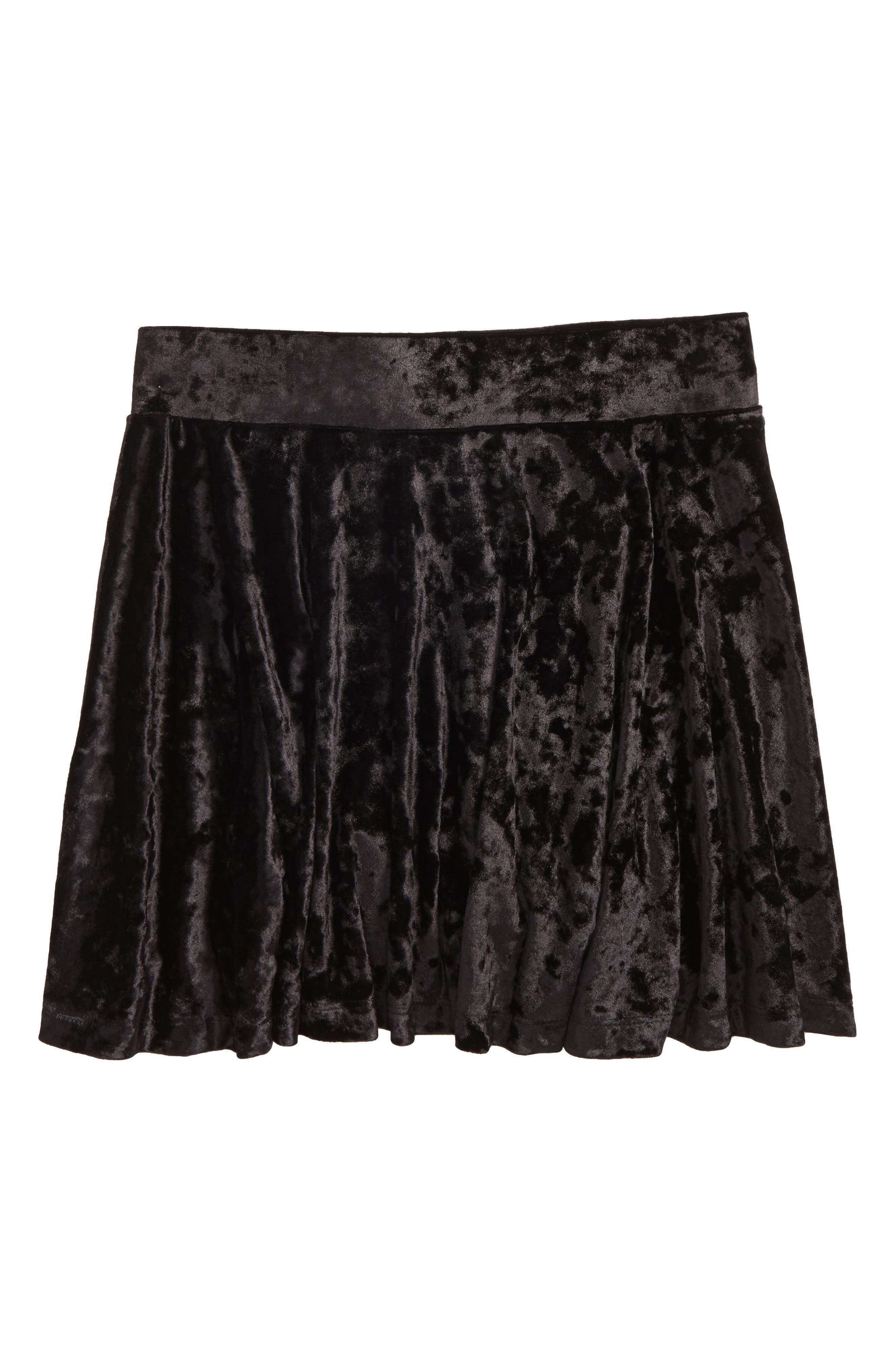 Velour Skater Skirt,                             Main thumbnail 1, color,                             Black Rock