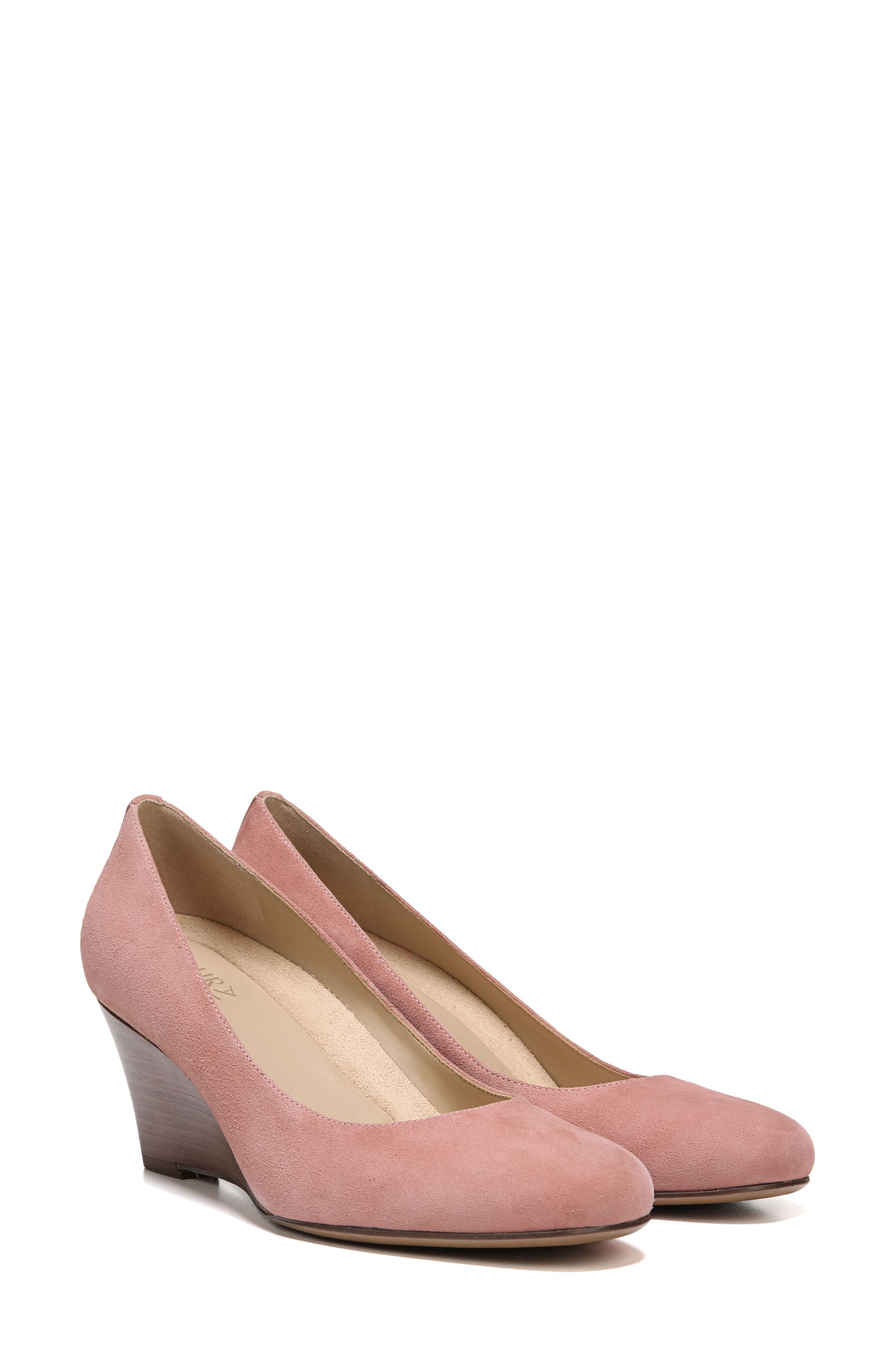 Emily Wedge Pump,                             Alternate thumbnail 9, color,                             Peony Pink Suede