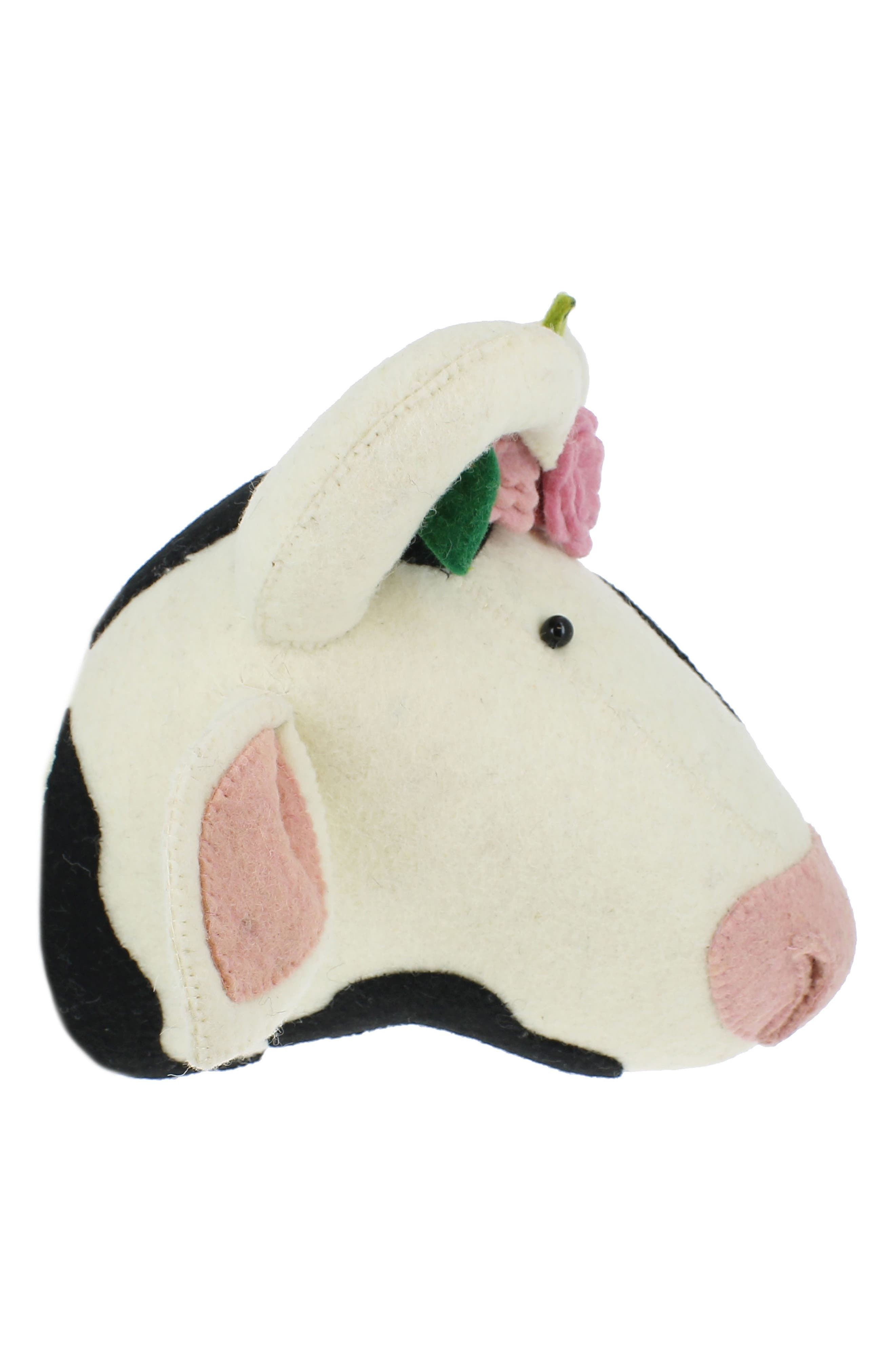 Cow Head with Flowers Wall Art,                             Alternate thumbnail 3, color,                             White