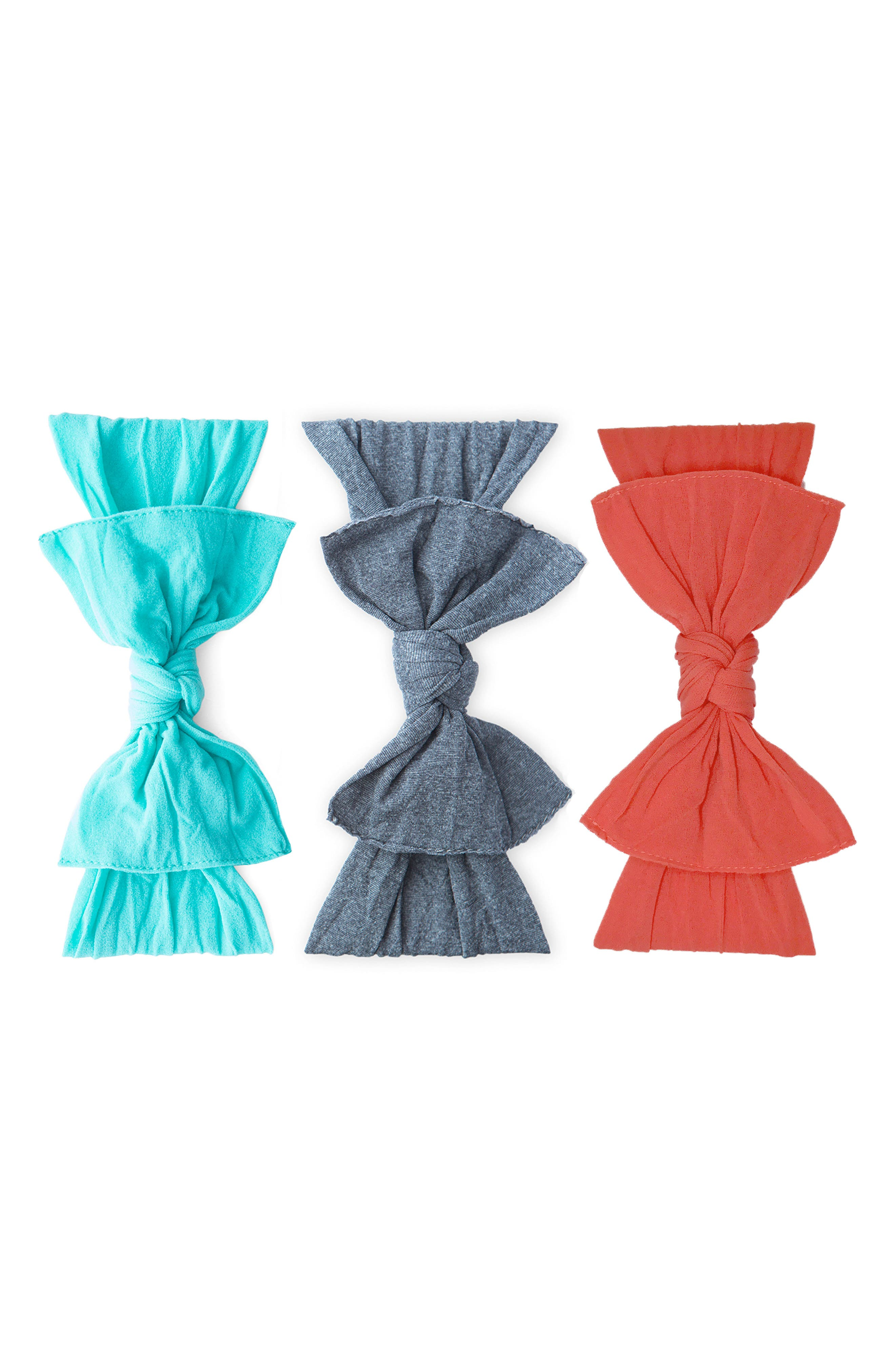 3-Pack Knotted Headbands,                         Main,                         color, Turquoise/ Heather Char