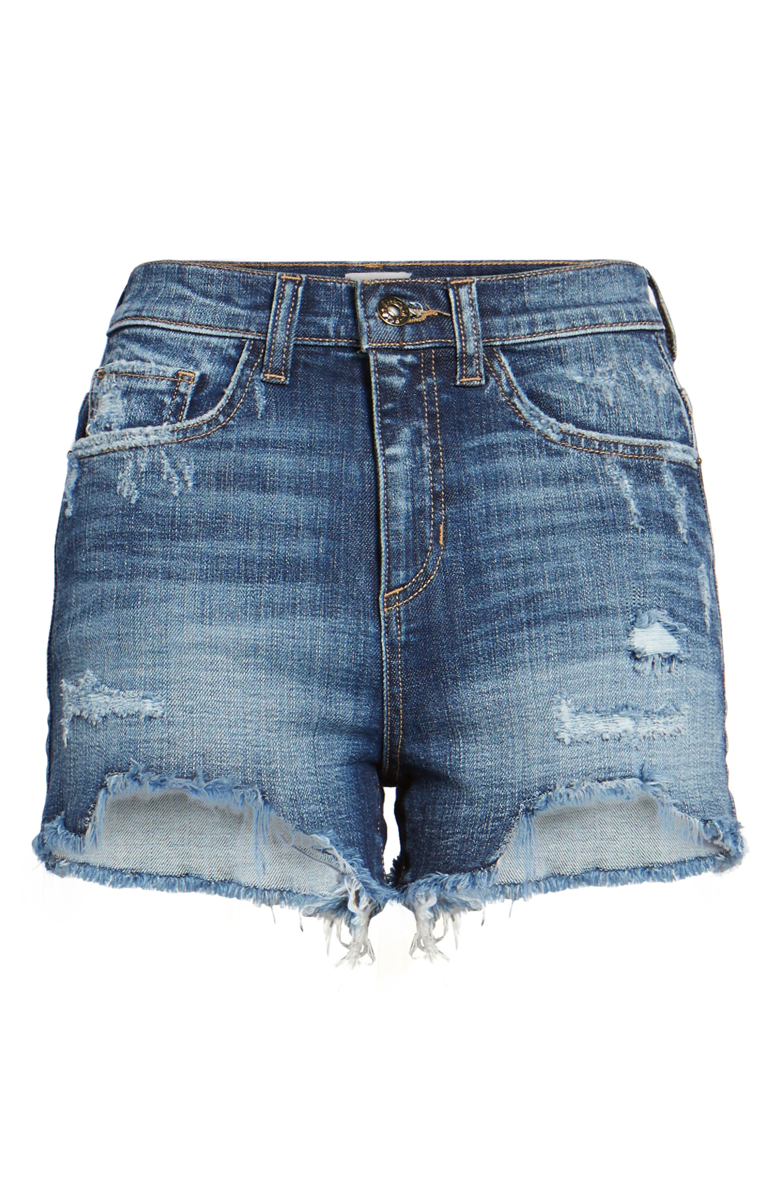 High Rise Fray Ripped Cutoff Shorts,                             Alternate thumbnail 7, color,                             Medium