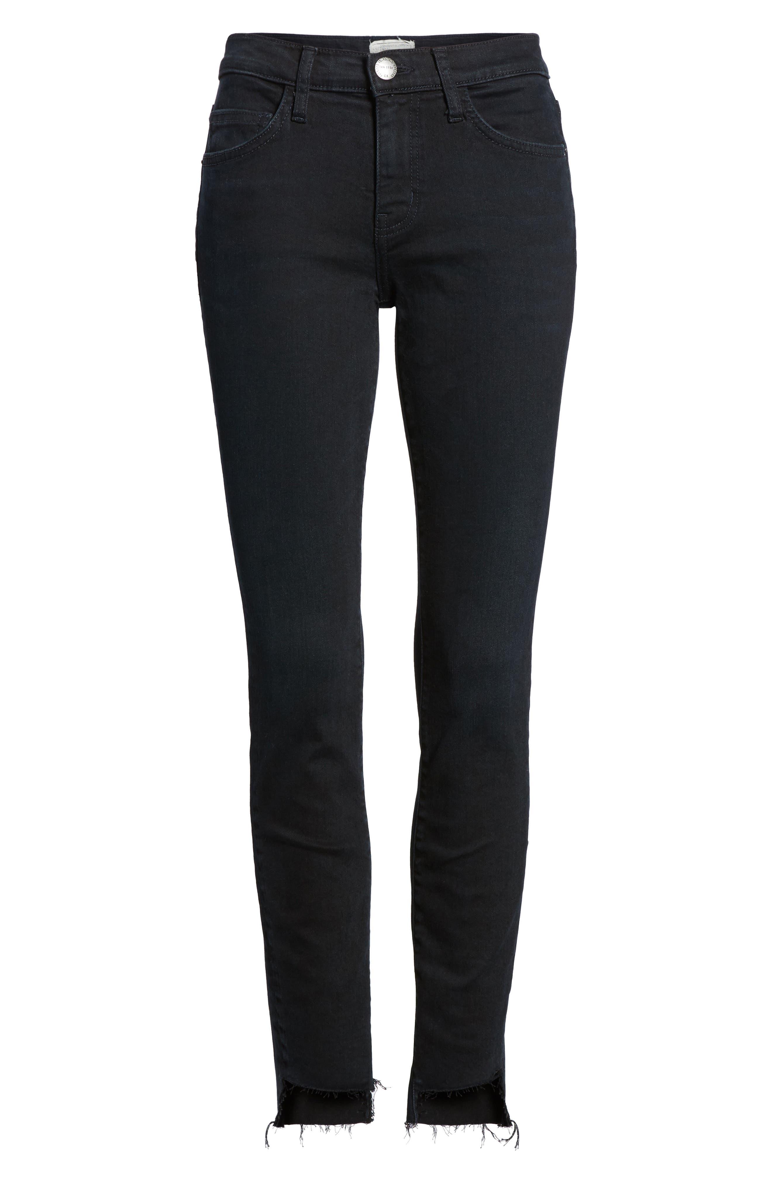 The High Waist Stiletto Ankle Skinny Jeans,                             Alternate thumbnail 6, color,                             Blueridge W/ Uneven Cut Hem