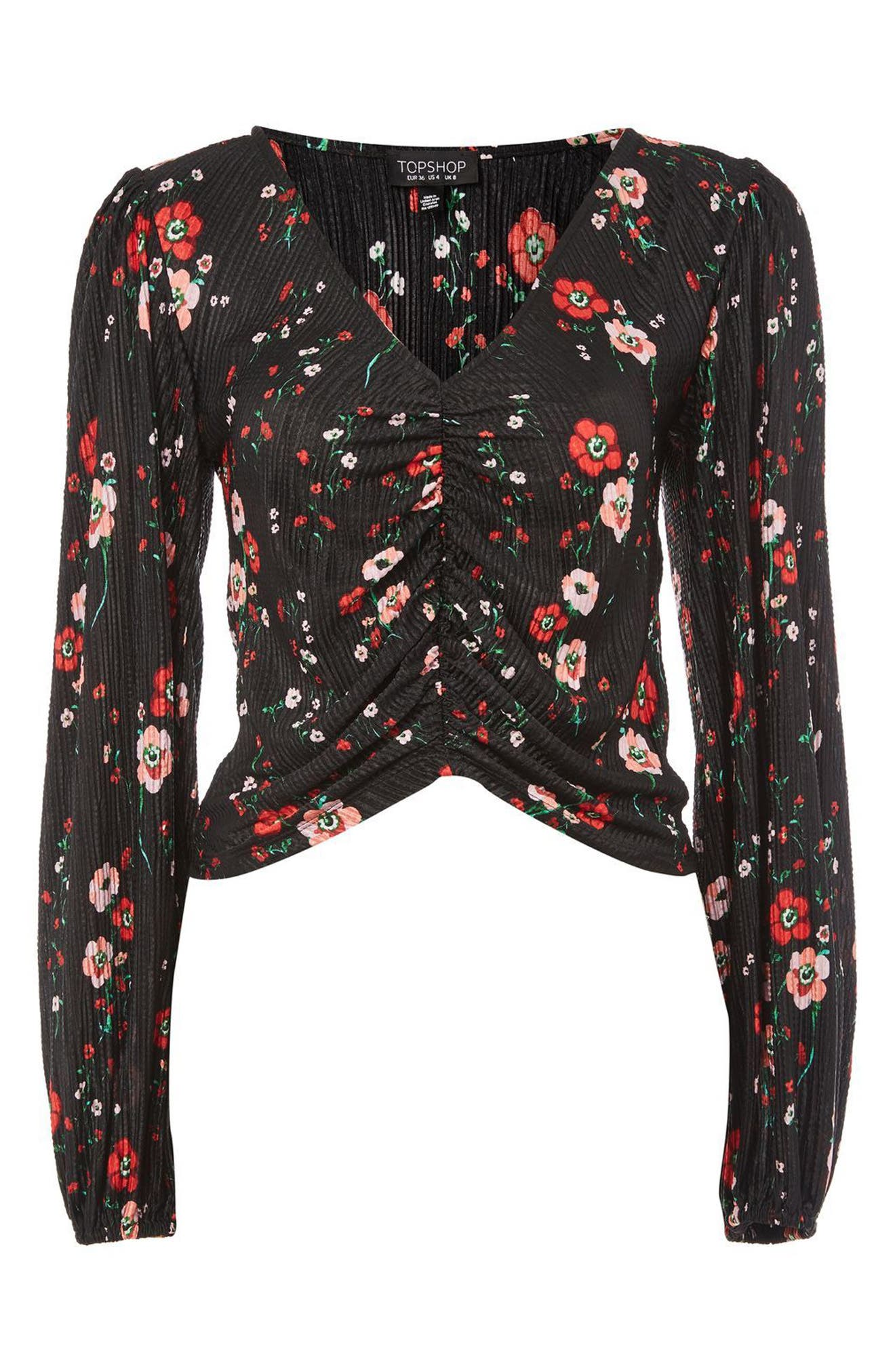 Floral Bloom Blouson Top,                             Alternate thumbnail 4, color,                             Black Multi