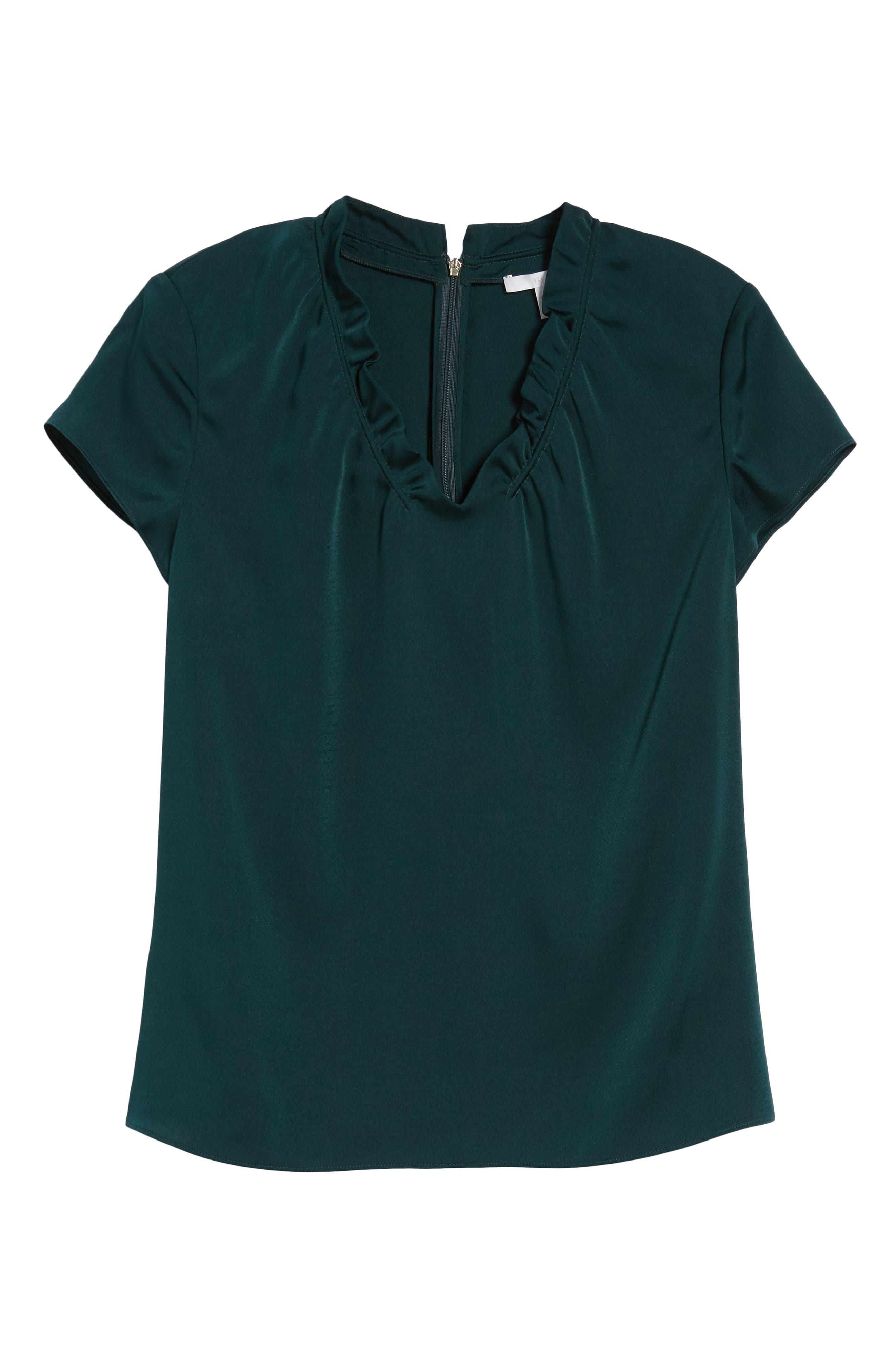 Isamara Stretch Silk Top,                             Alternate thumbnail 6, color,                             Peacock Green